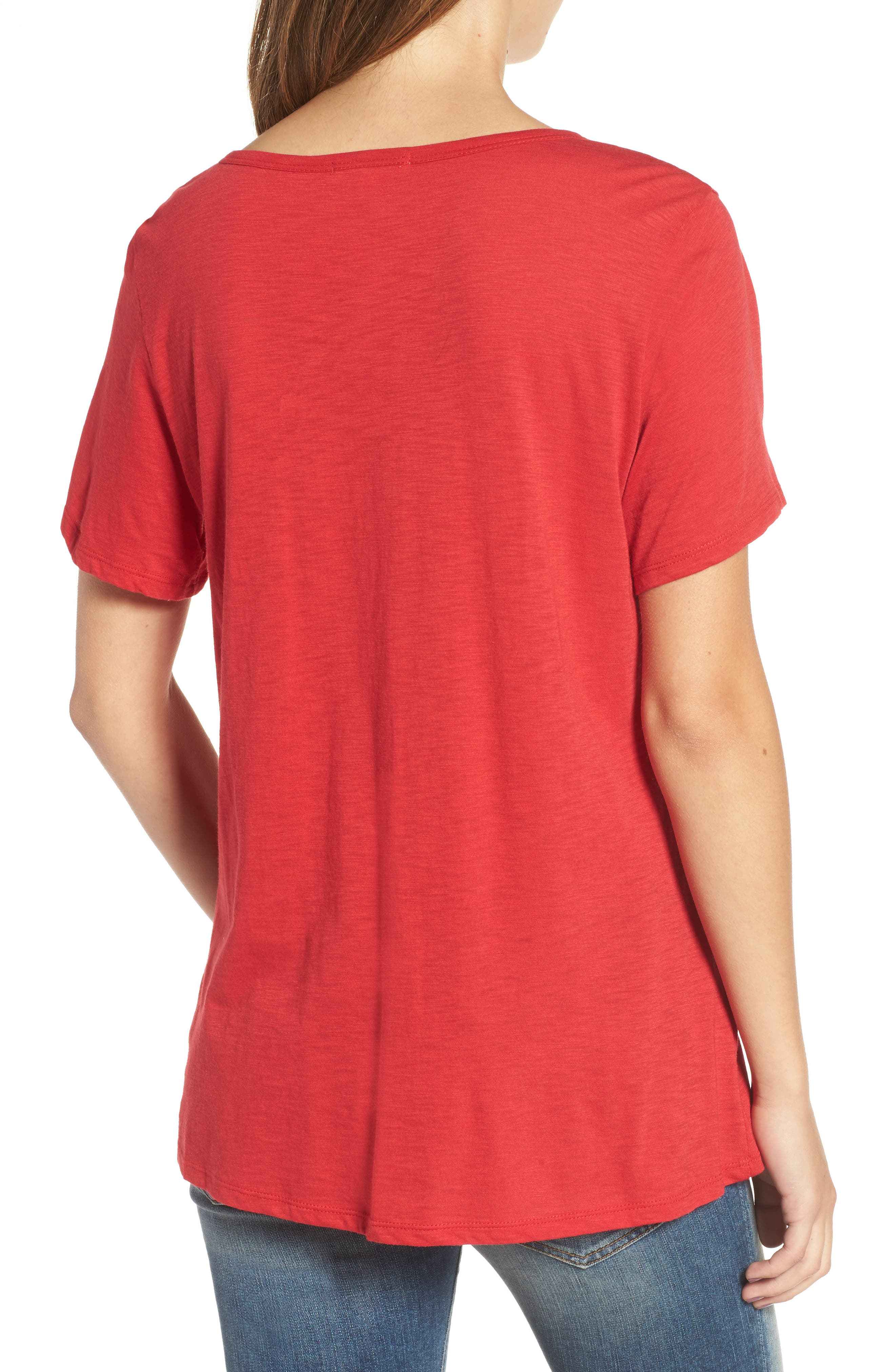 Grommet Lace-Up Tee,                             Alternate thumbnail 2, color,                             American Red