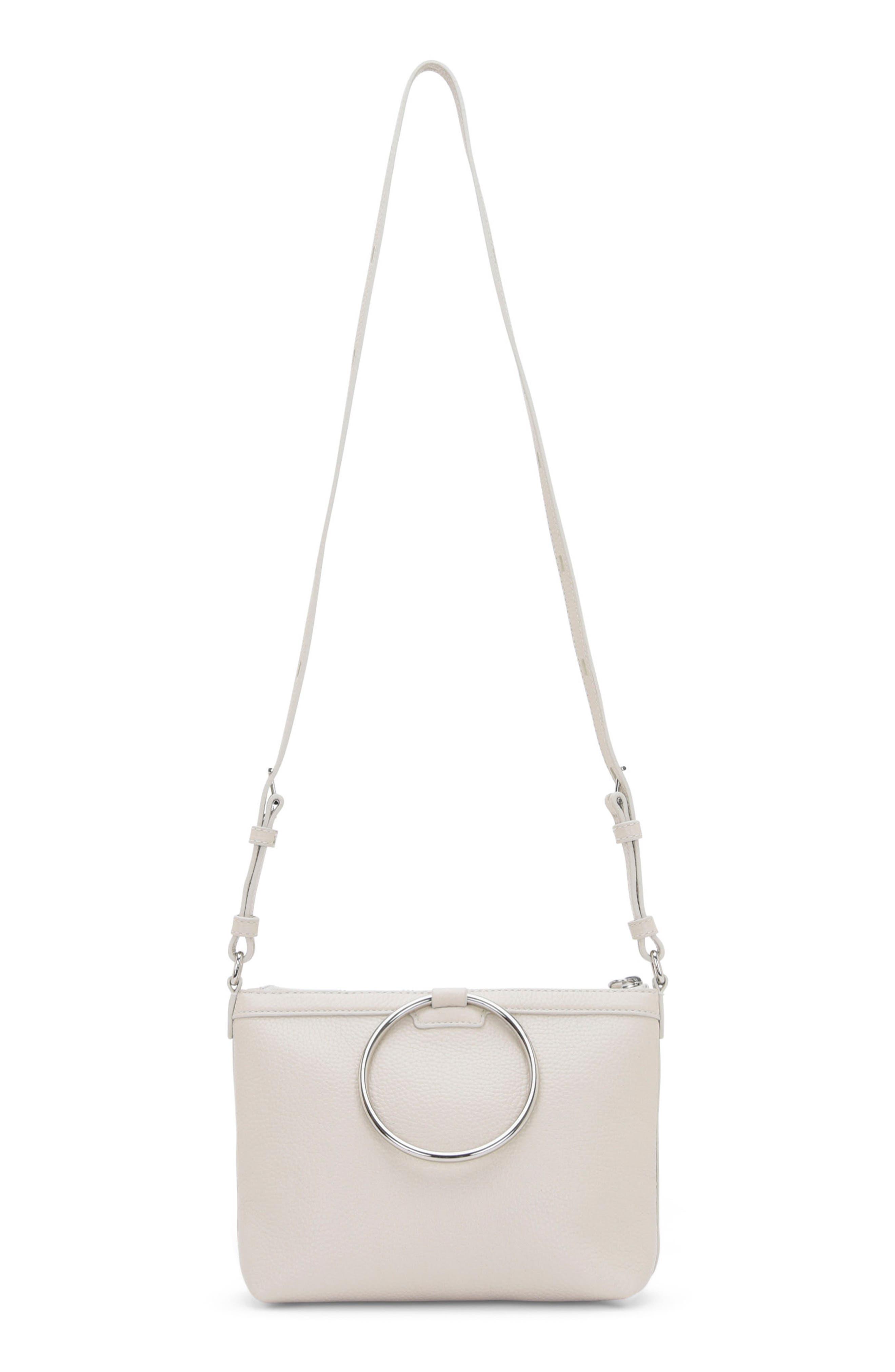 Pebbled Leather Ring Crossbody Bag,                         Main,                         color, Fog
