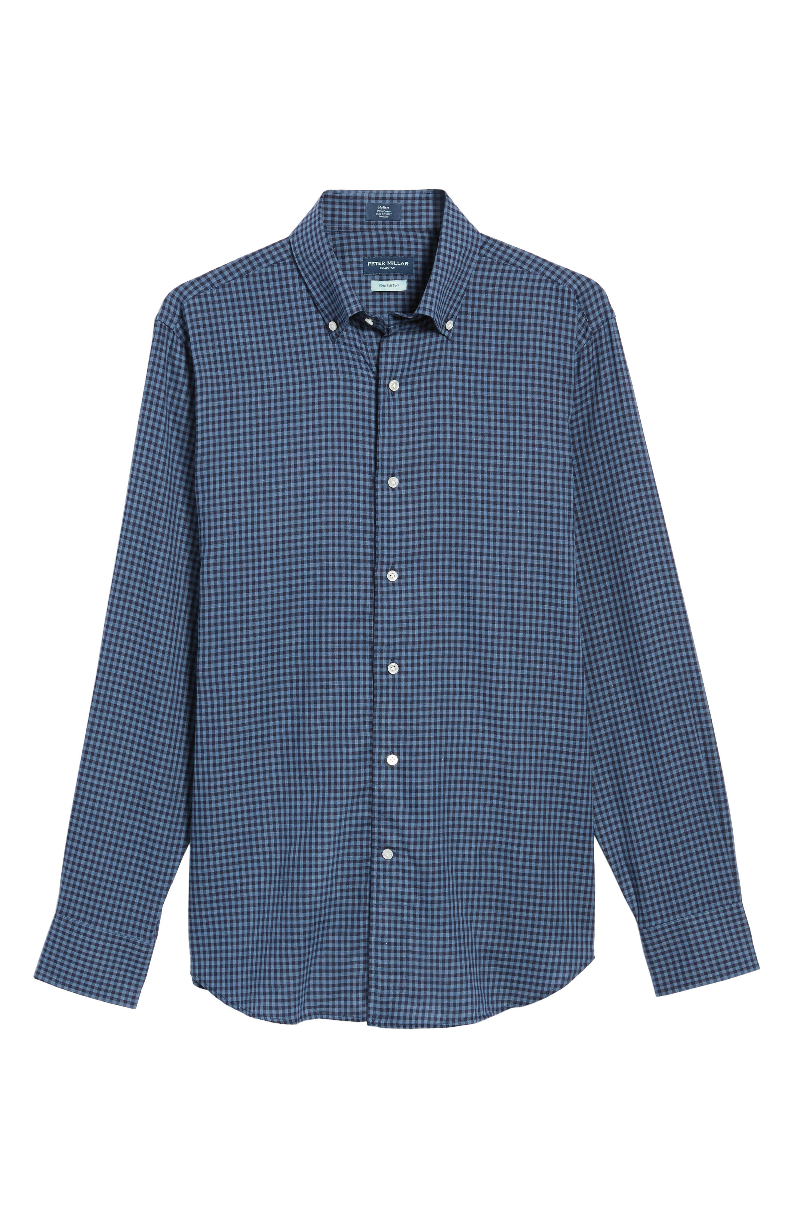 Peter Millar Caledonia Regular Fit Check Sport Shirt,                             Alternate thumbnail 6, color,                             Blue