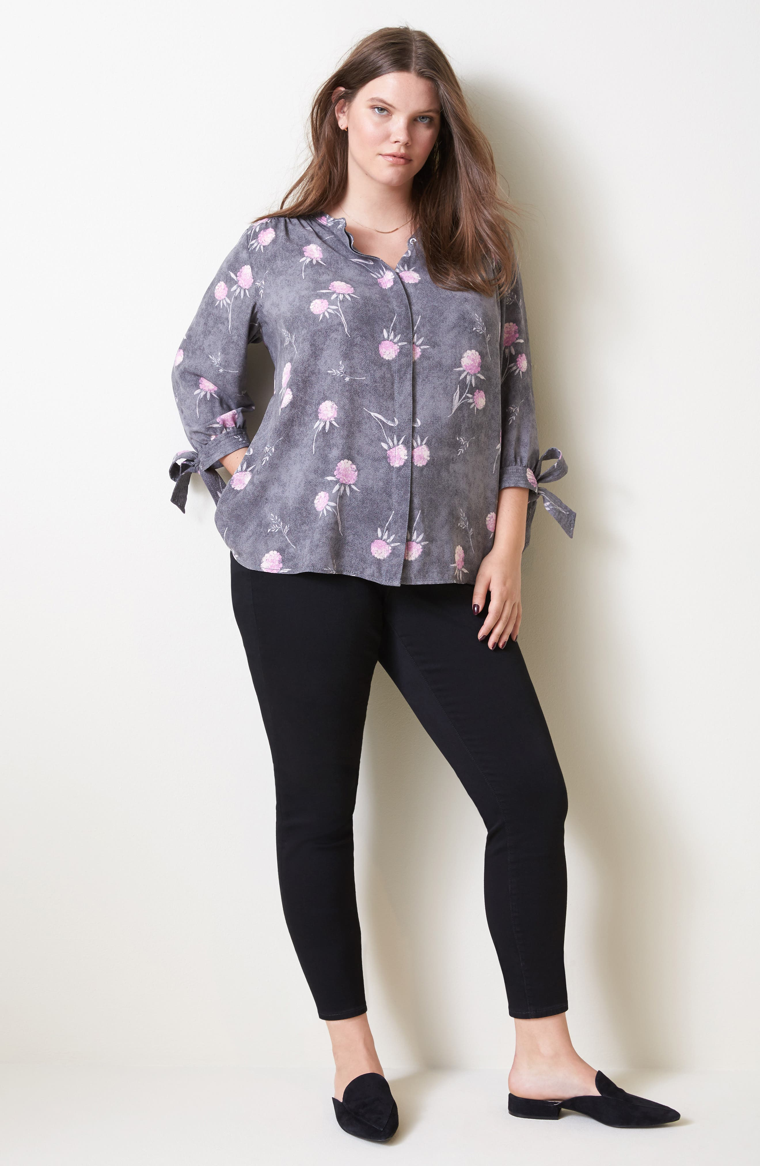 Tie Sleeve Blouse,                             Alternate thumbnail 2, color,                             Grey Enchanted Floral