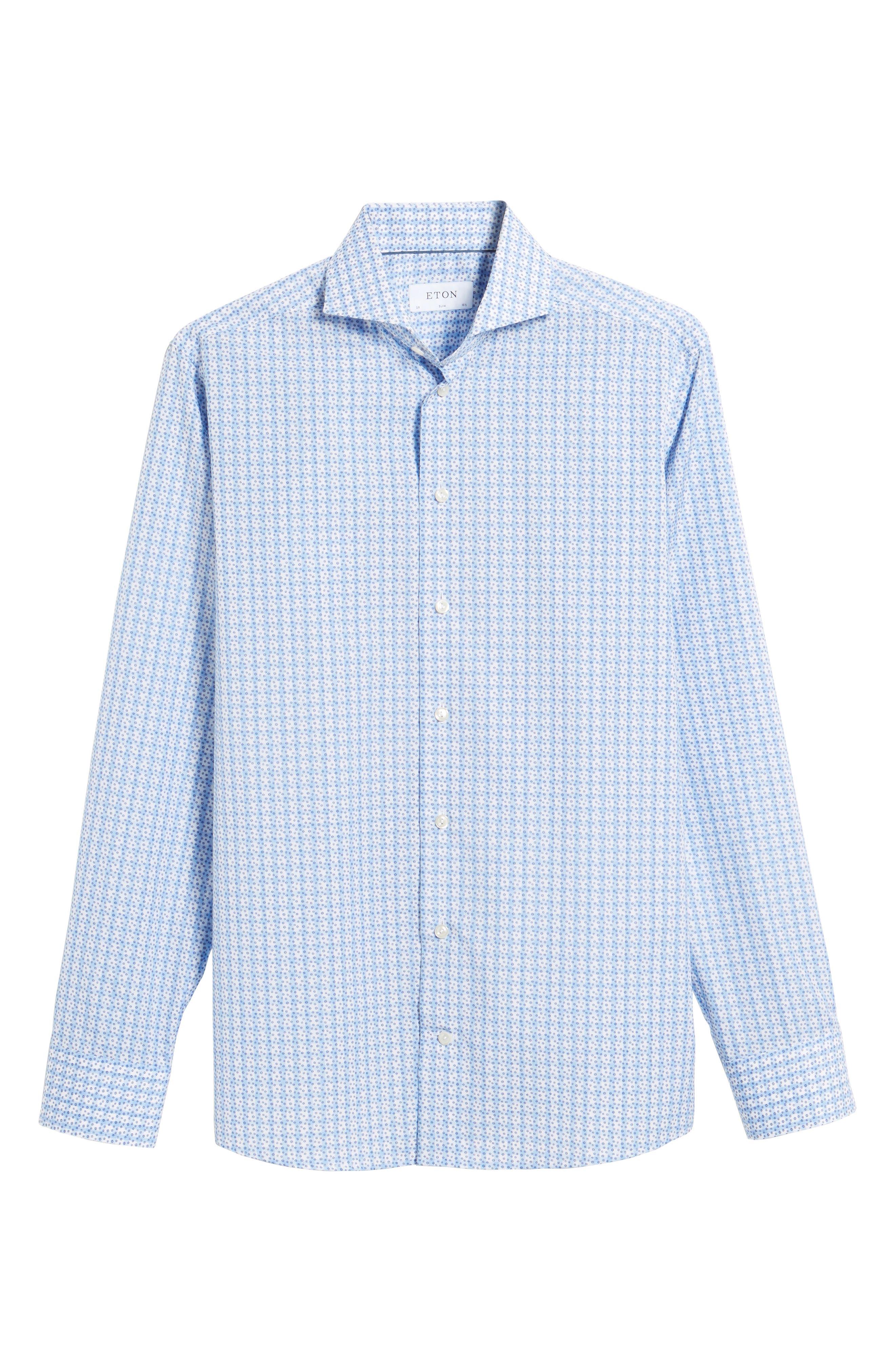 Alternate Image 7  - Eton Slim Fit Microprint Dress Shirt