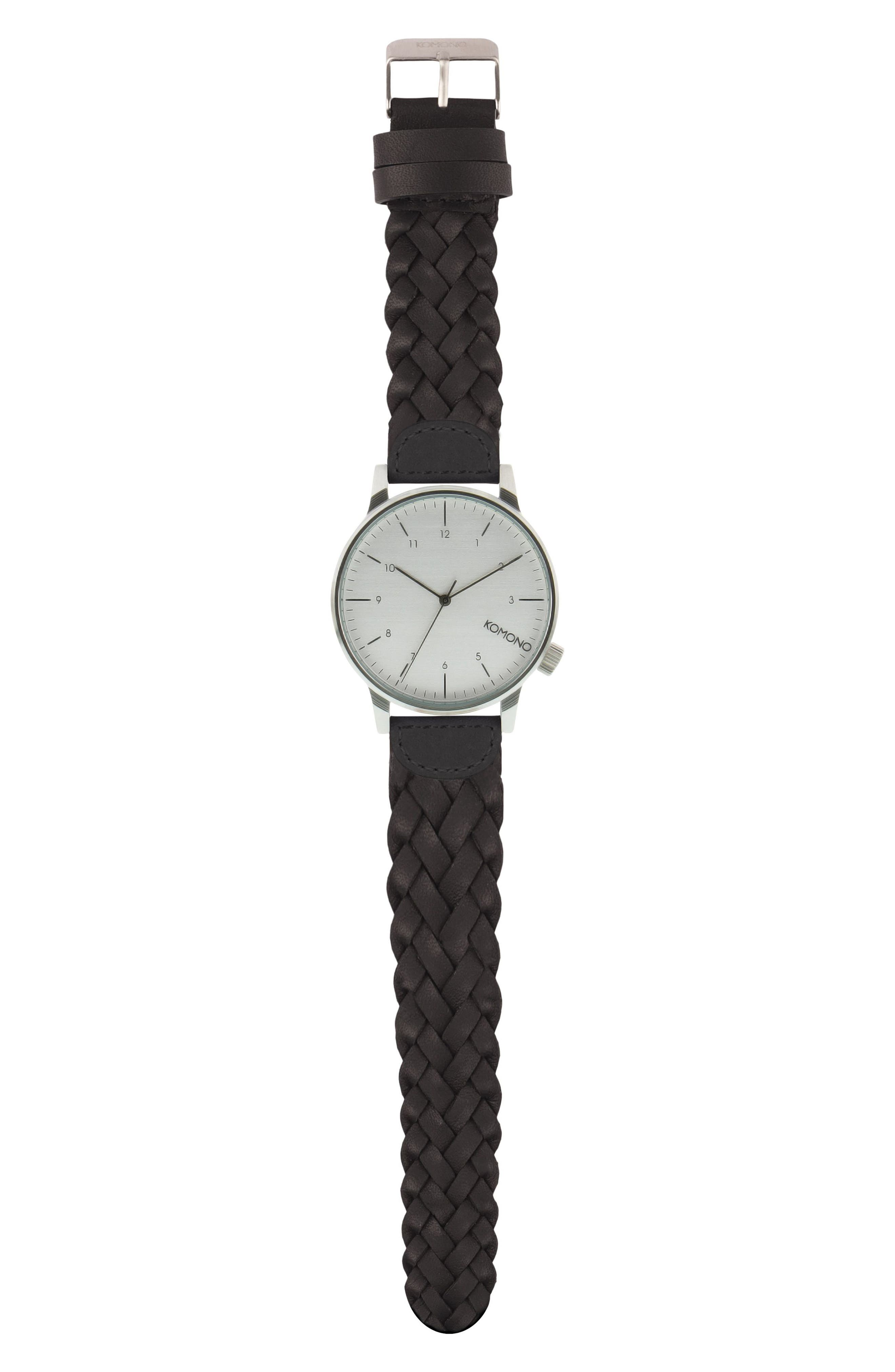 Winston Woven Leather Strap Watch, 41mm,                         Main,                         color, Silver/ Black