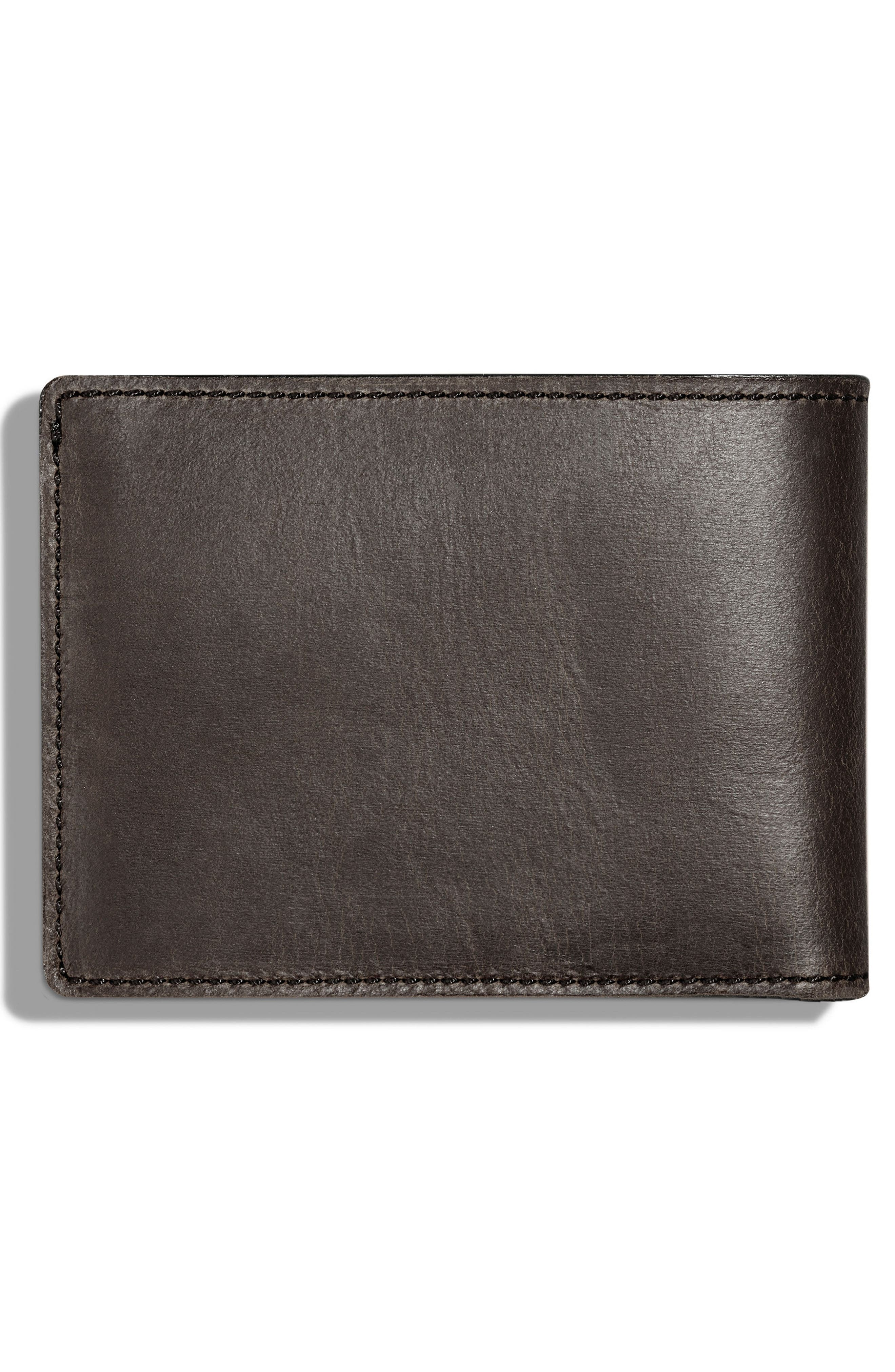 Leather Wallet,                             Alternate thumbnail 3, color,                             Charcoal