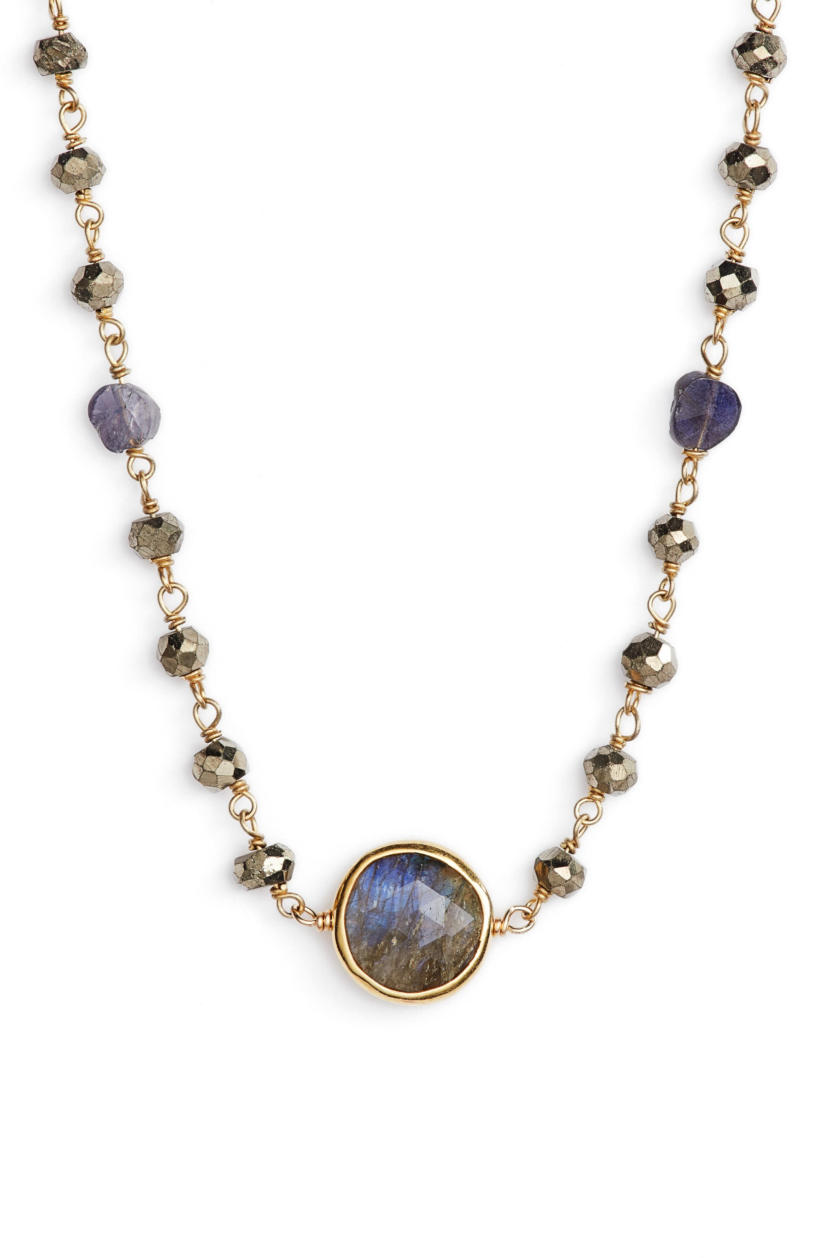 Semiprecious Stone Collar Necklace,                             Main thumbnail 1, color,                             Pyrite/ Labradorite