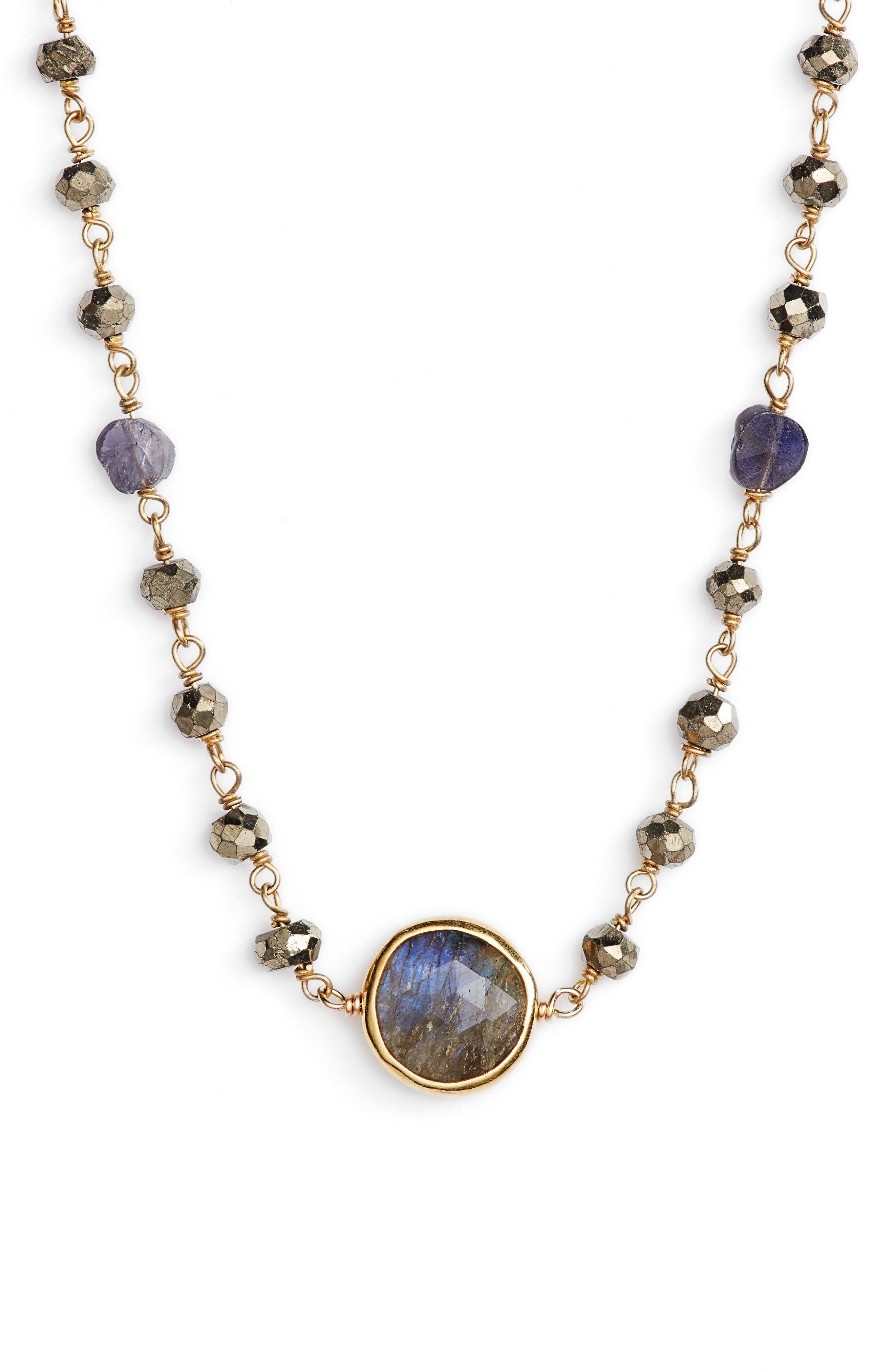 Semiprecious Stone Collar Necklace,                         Main,                         color, Pyrite/ Labradorite