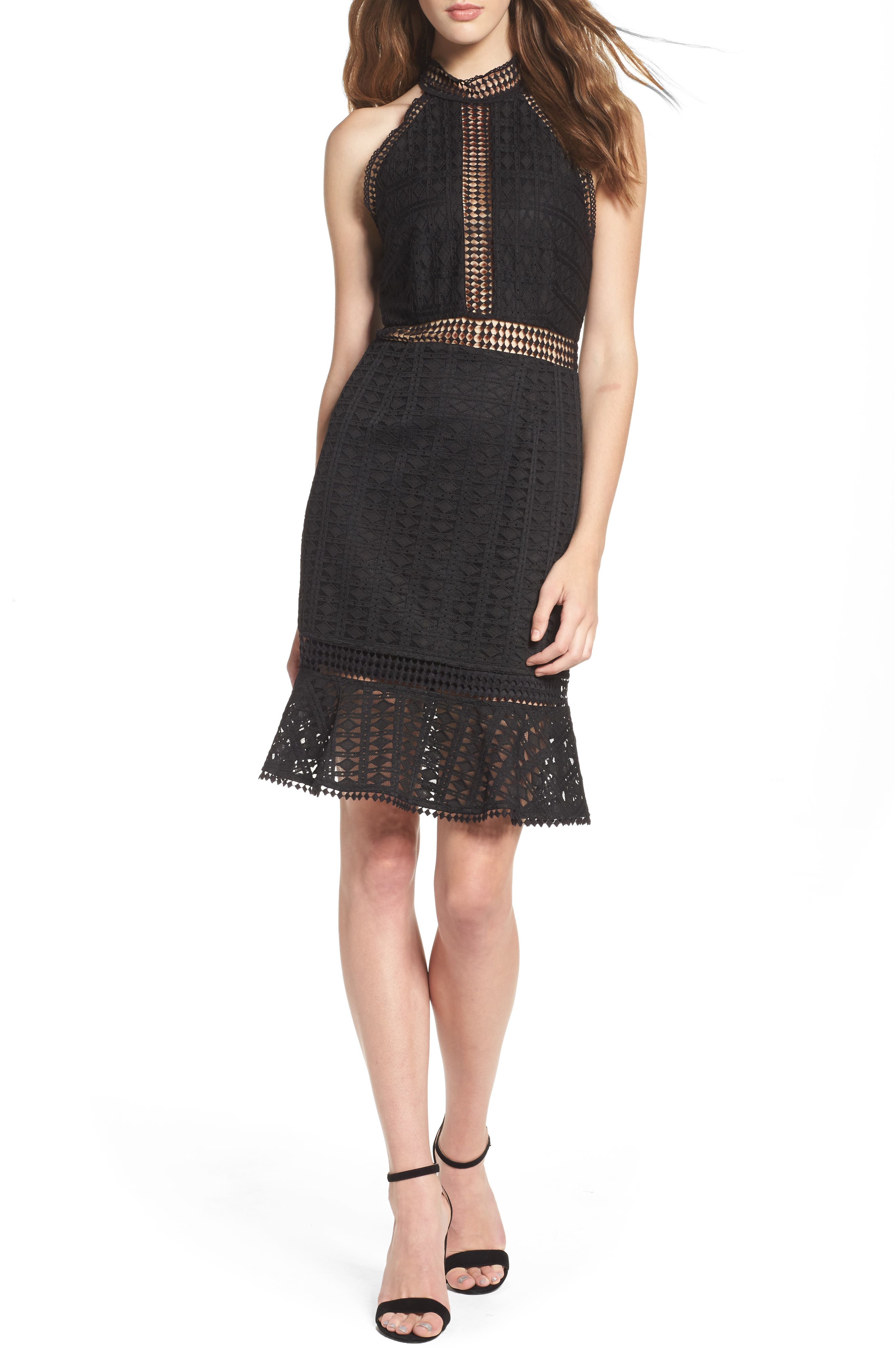 Lace Halter Dress,                         Main,                         color, Black