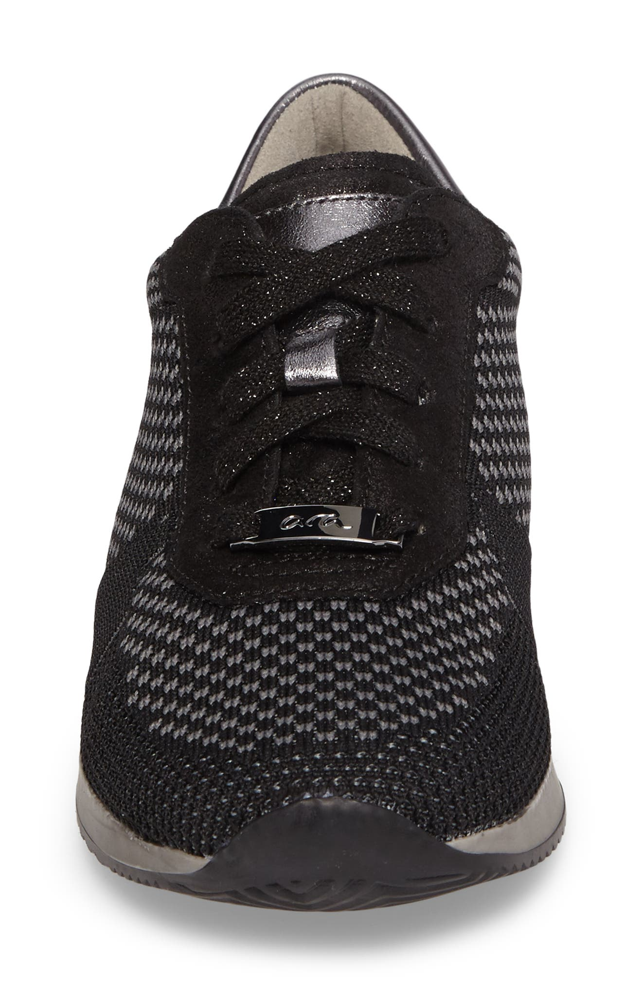 Lilly Sneaker,                             Alternate thumbnail 4, color,                             Black Leather