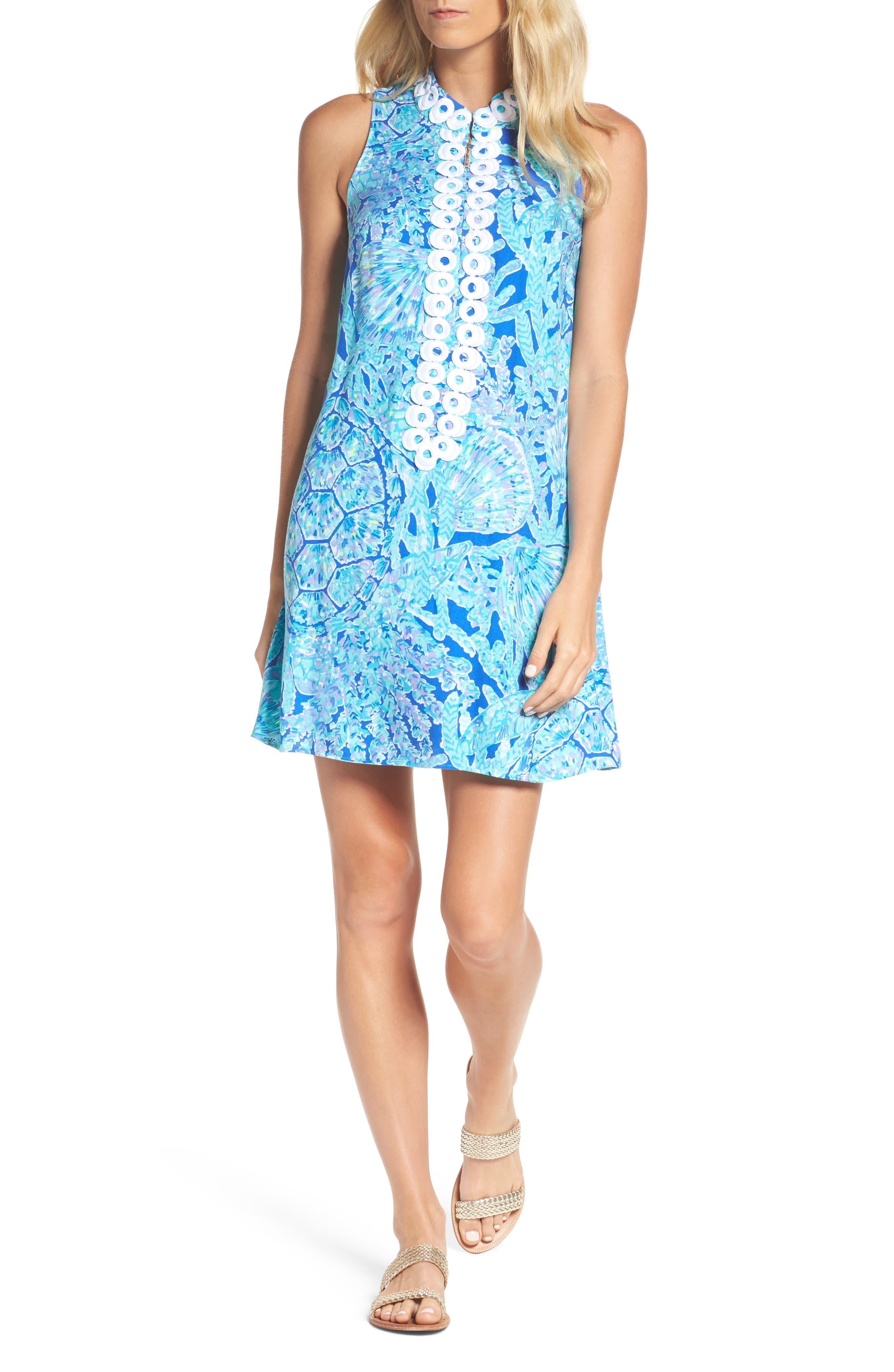 Jane Shift Dress,                         Main,                         color, Capri Teal Tortuga Time