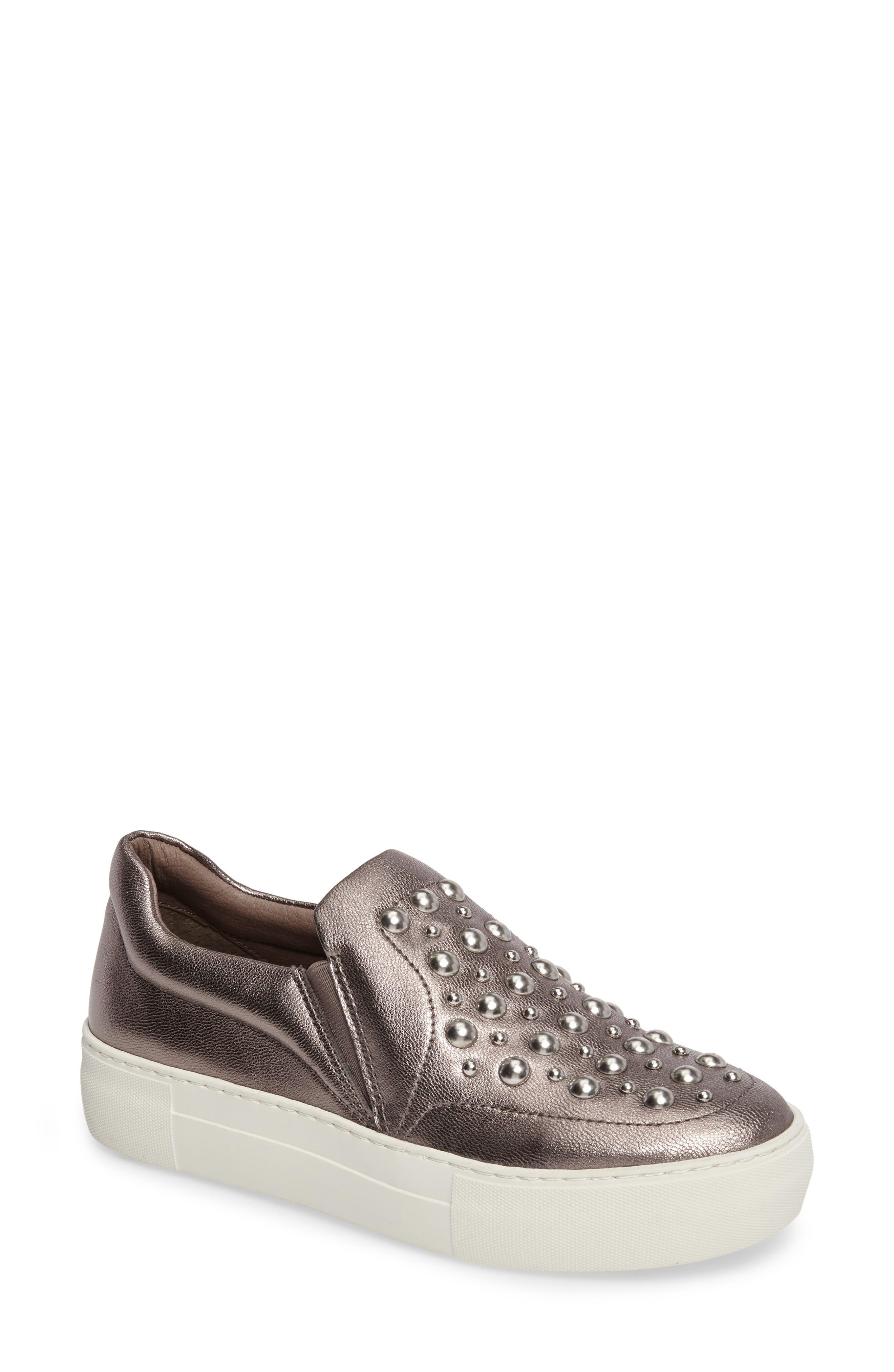 Atom Slip-On Platform Sneaker,                         Main,                         color, Pewter Leather