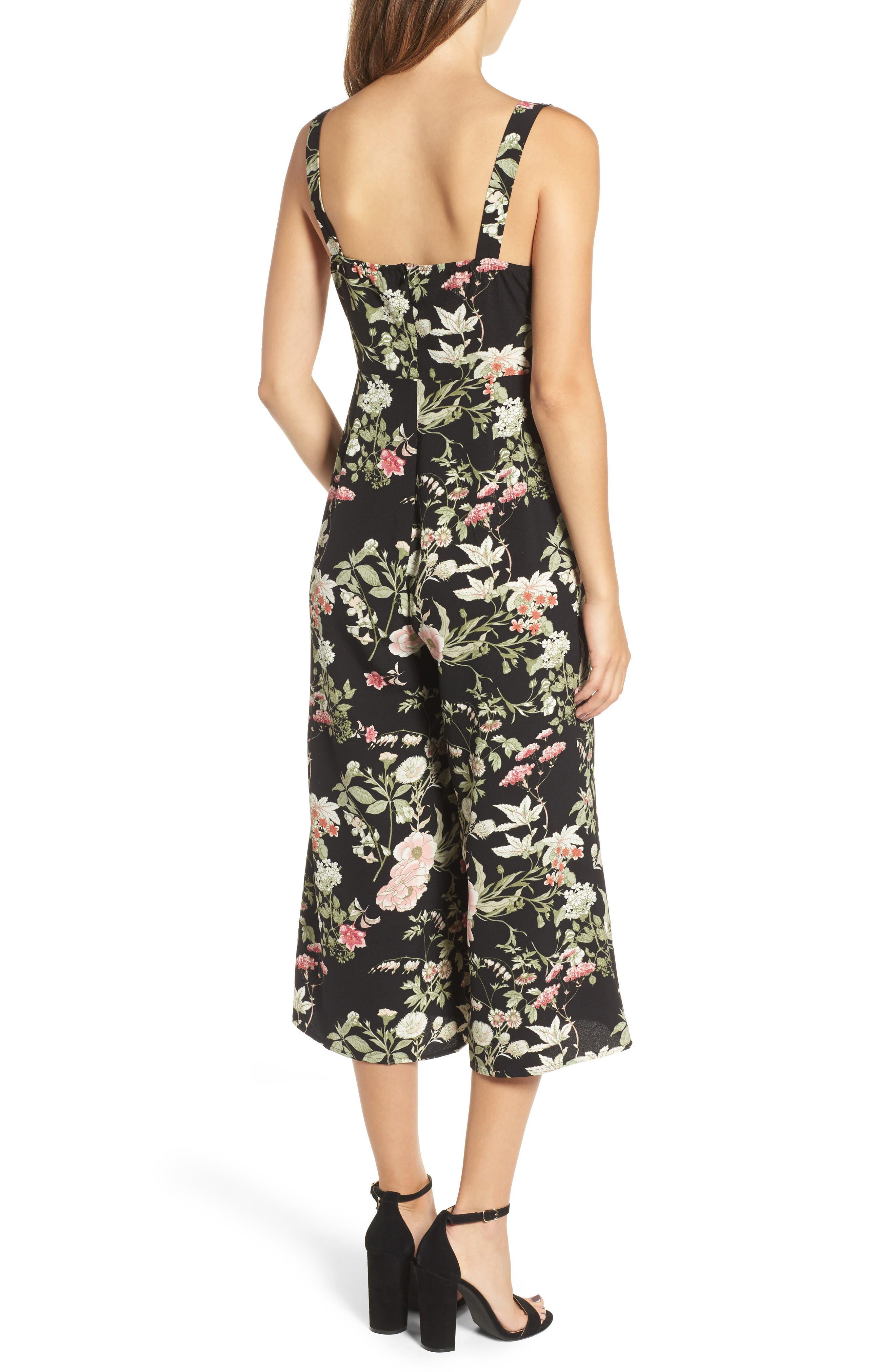 Print Wide Leg Jumpsuit,                             Alternate thumbnail 2, color,                             Black Floral