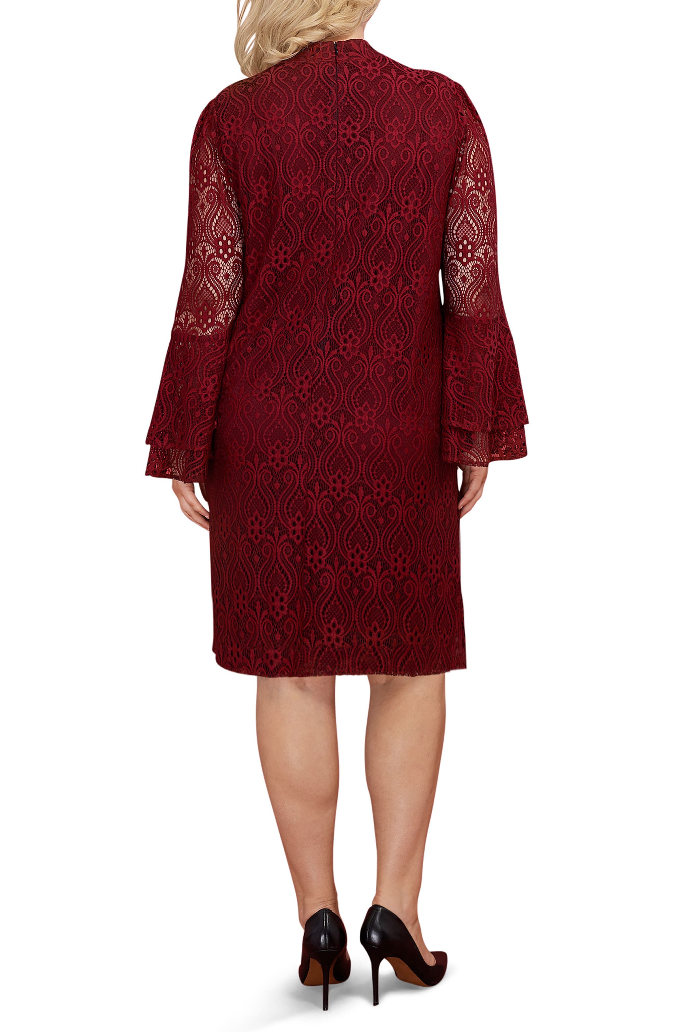 Lace Bell Sleeve A-Line Dress,                             Alternate thumbnail 2, color,                             Wine
