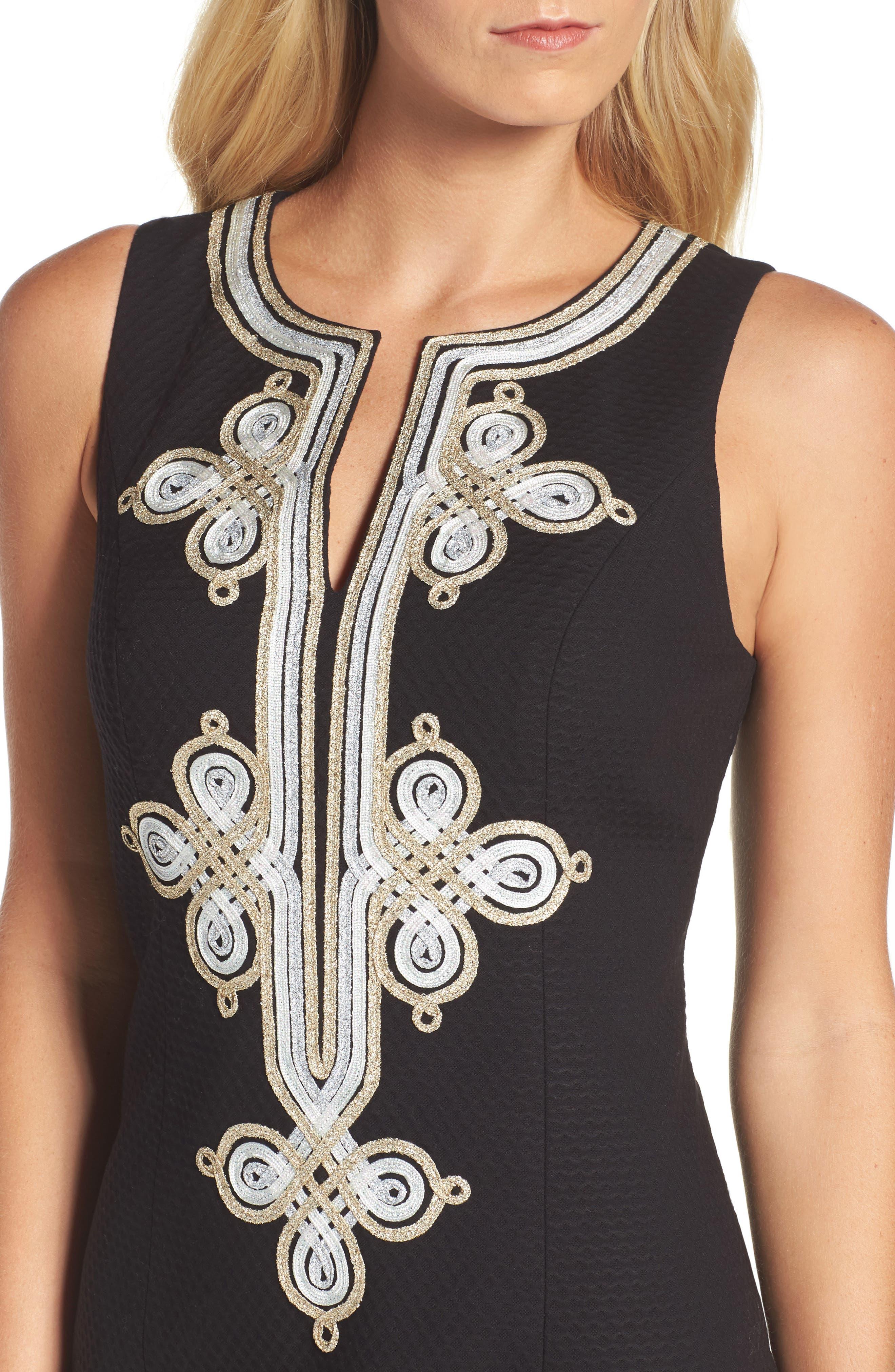Mila Shift Dress,                             Alternate thumbnail 4, color,                             Black