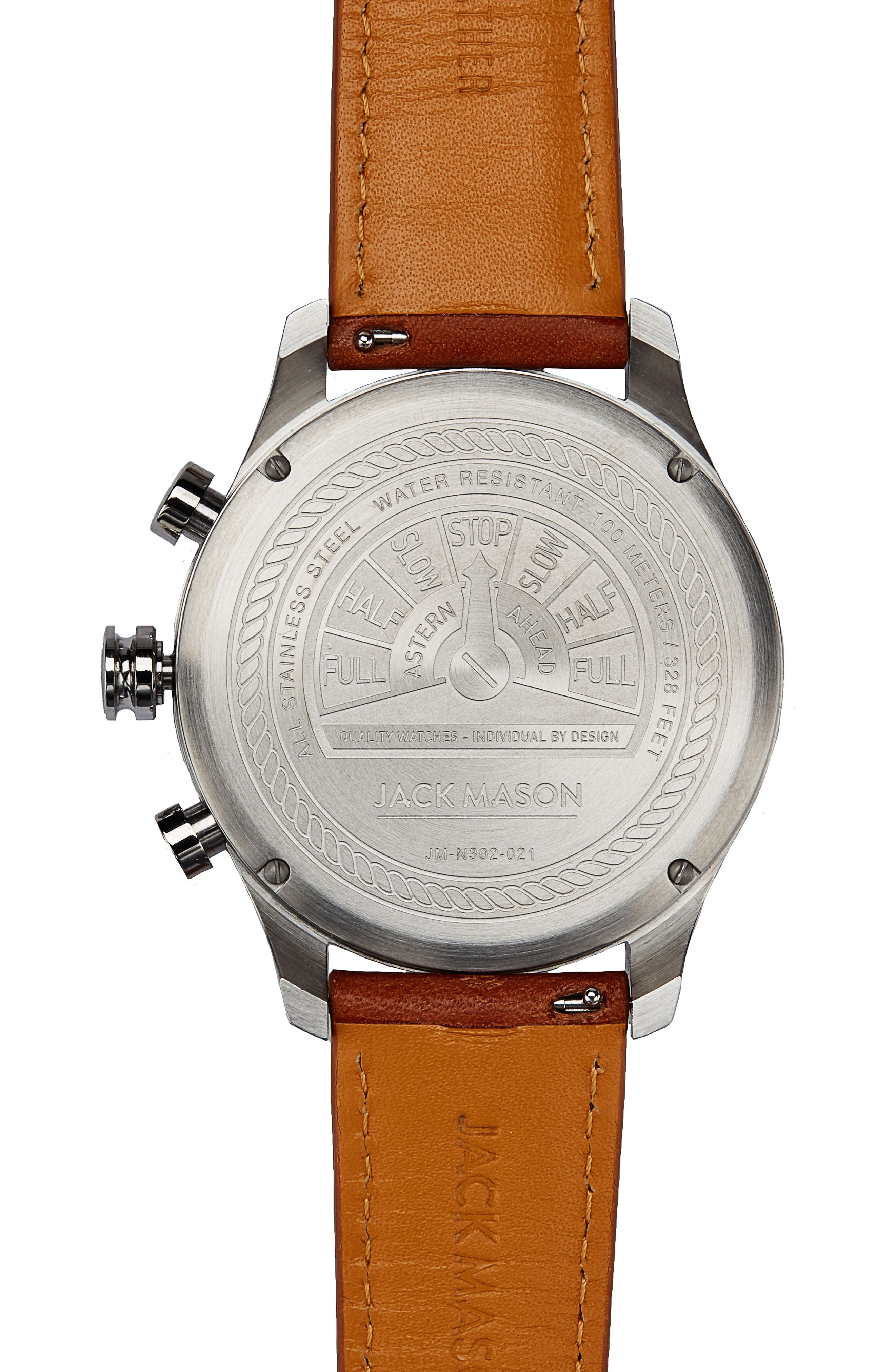 Alternate Image 2  - Jack Mason Brand Nautical A3 Chronograph Leather Strap Watch, 45mm