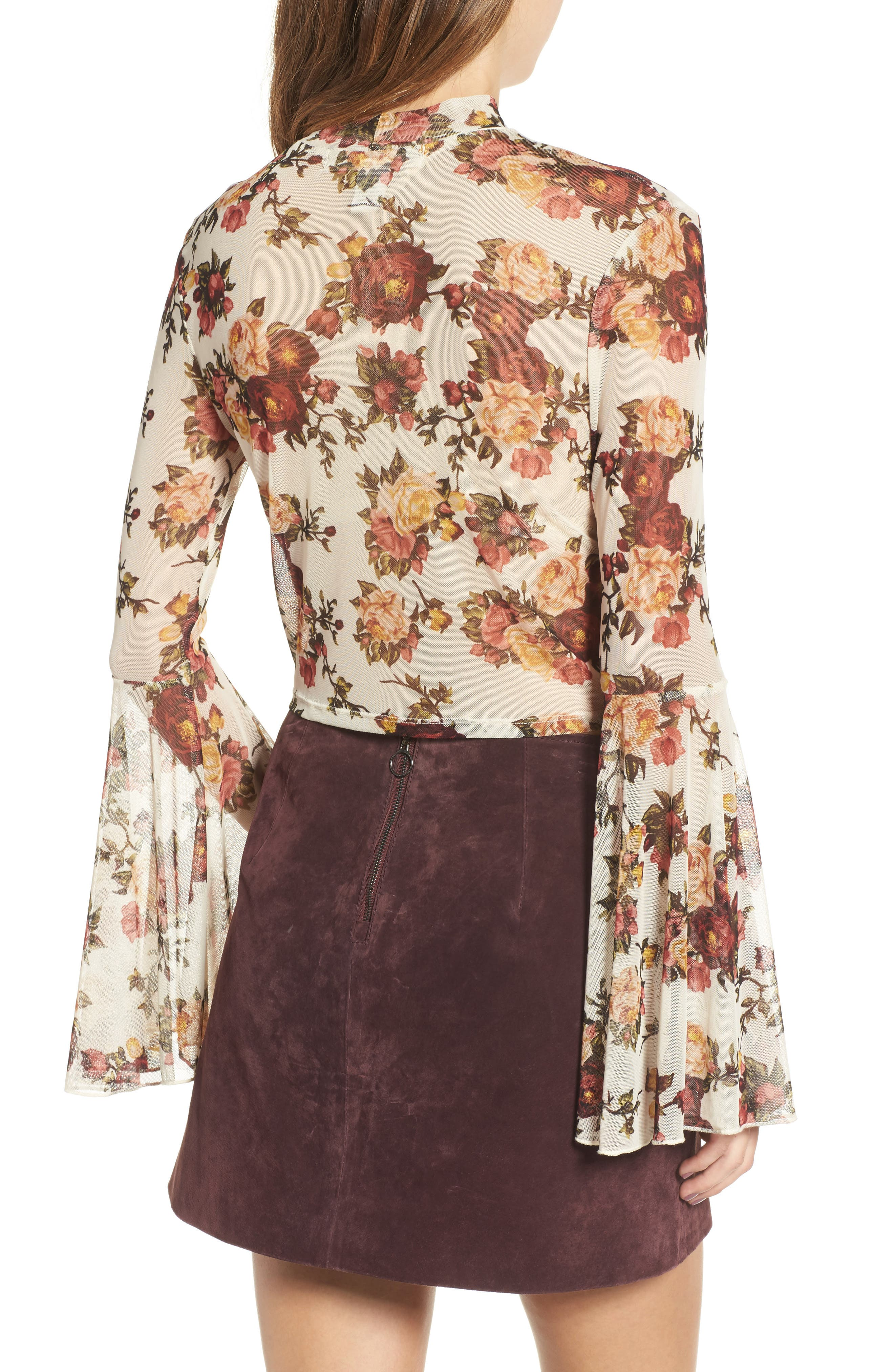 Alternate Image 2  - Mimi Chica Floral Mesh Bell Sleeve Crop Top