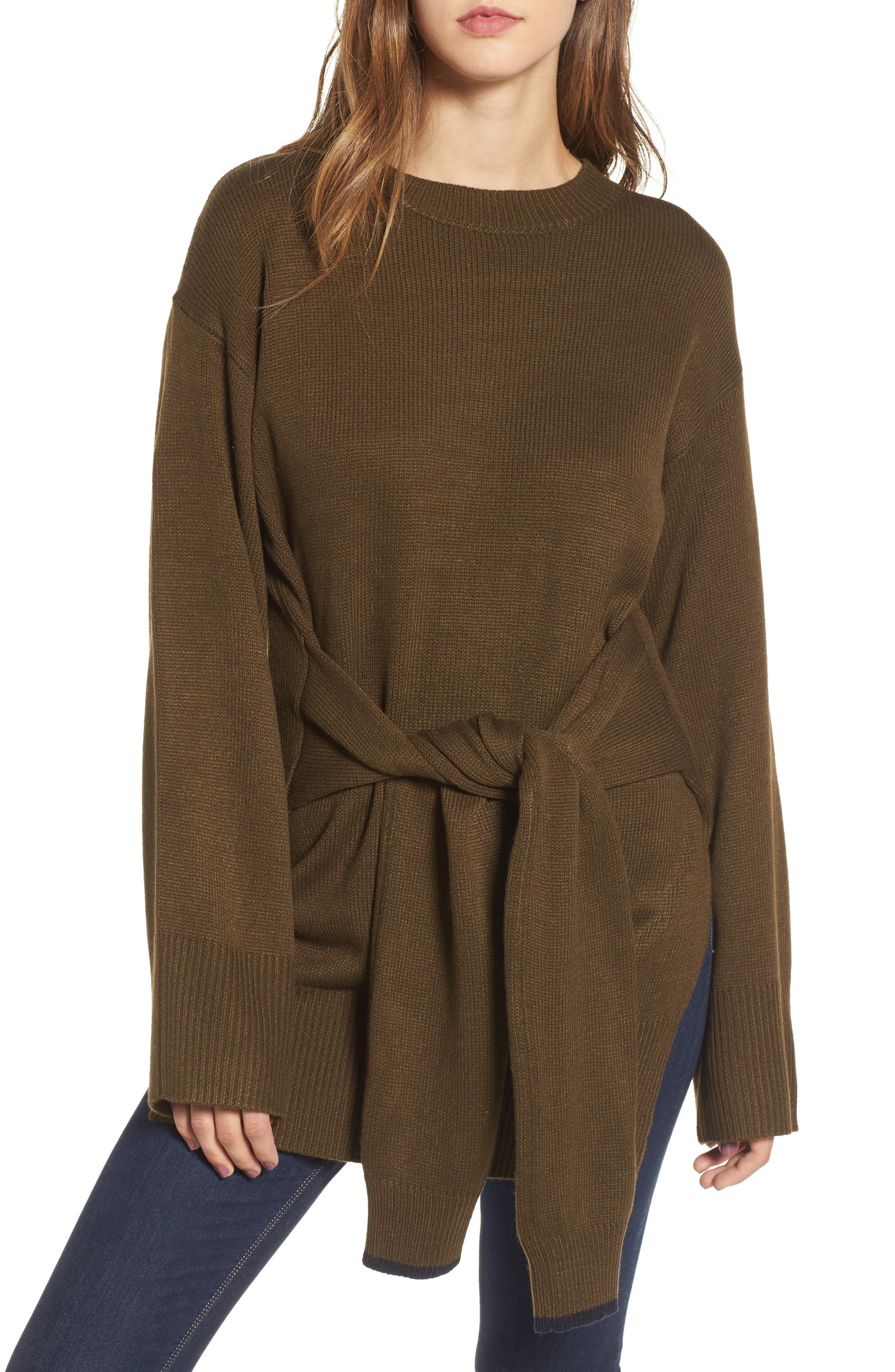 Tie Front Sweater,                         Main,                         color, Olive