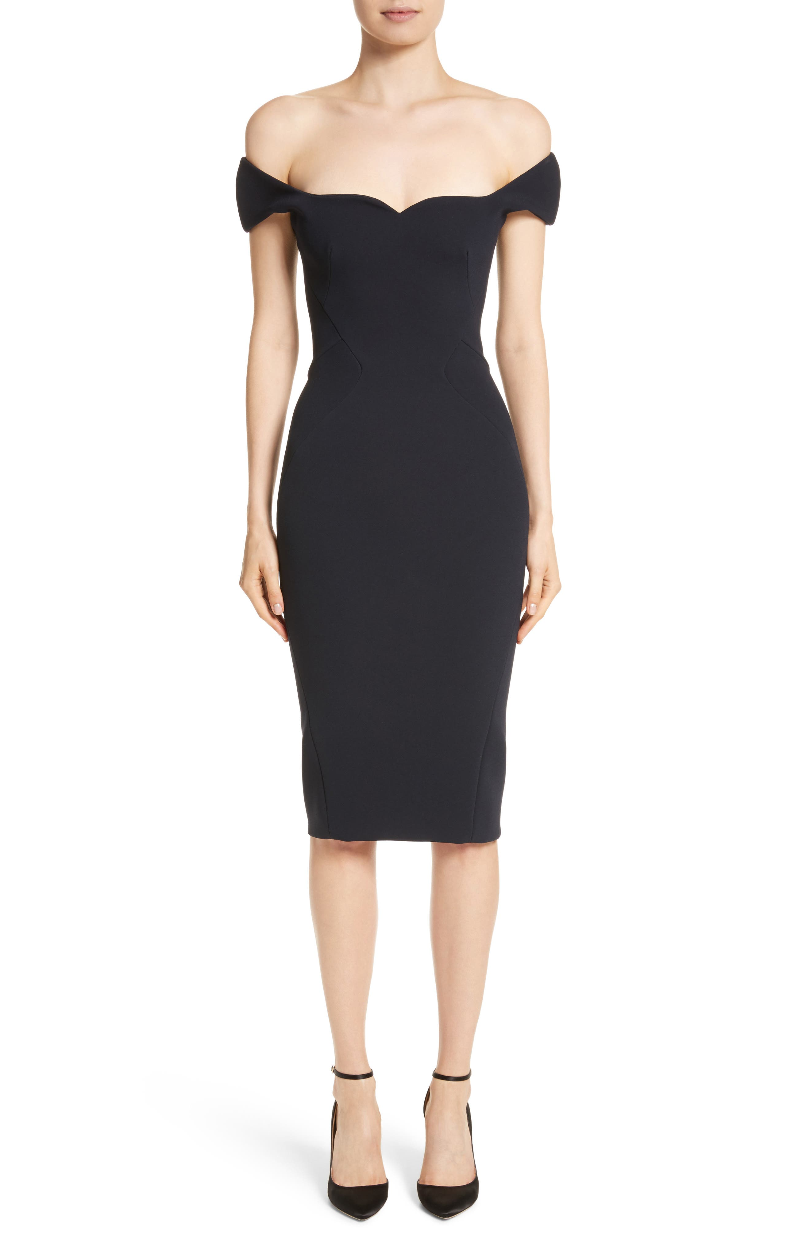 Off the Shoulder Sheath Dress,                         Main,                         color, Midnight