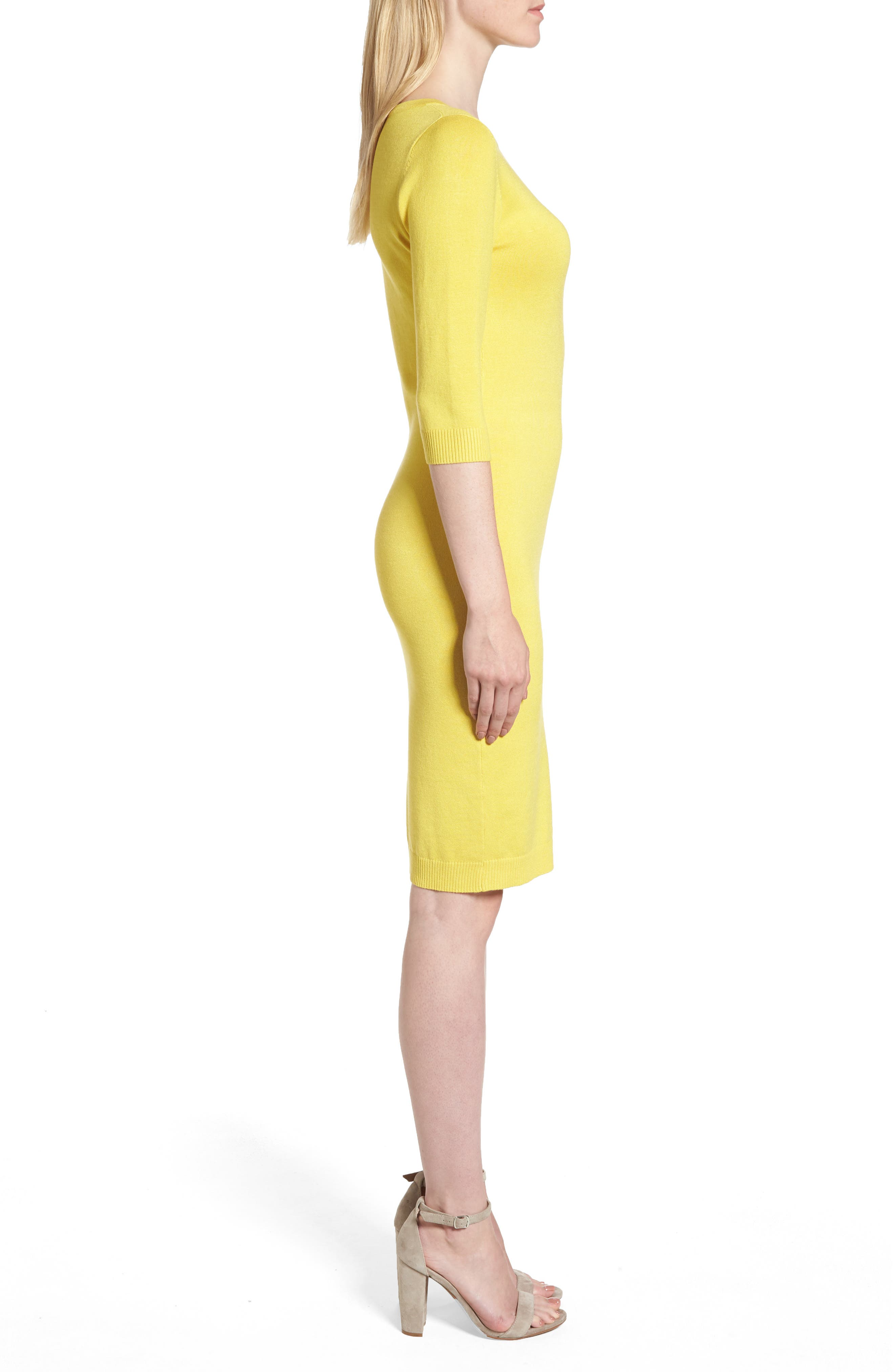 Elbow Sleeve Sweater Dress,                             Alternate thumbnail 3, color,                             Yellow