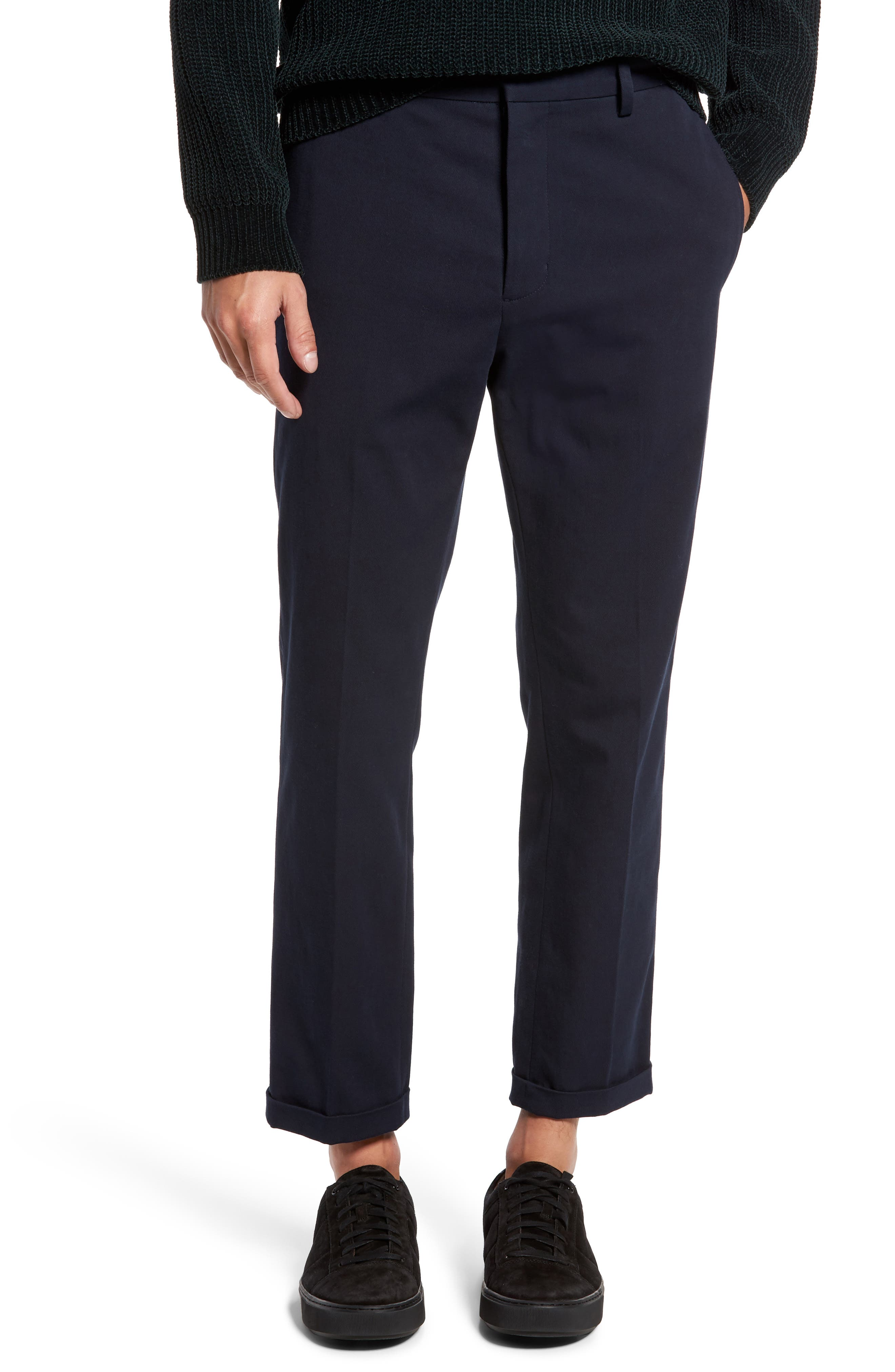 Cropped Slim Fit Trousers,                             Main thumbnail 1, color,                             Coastal