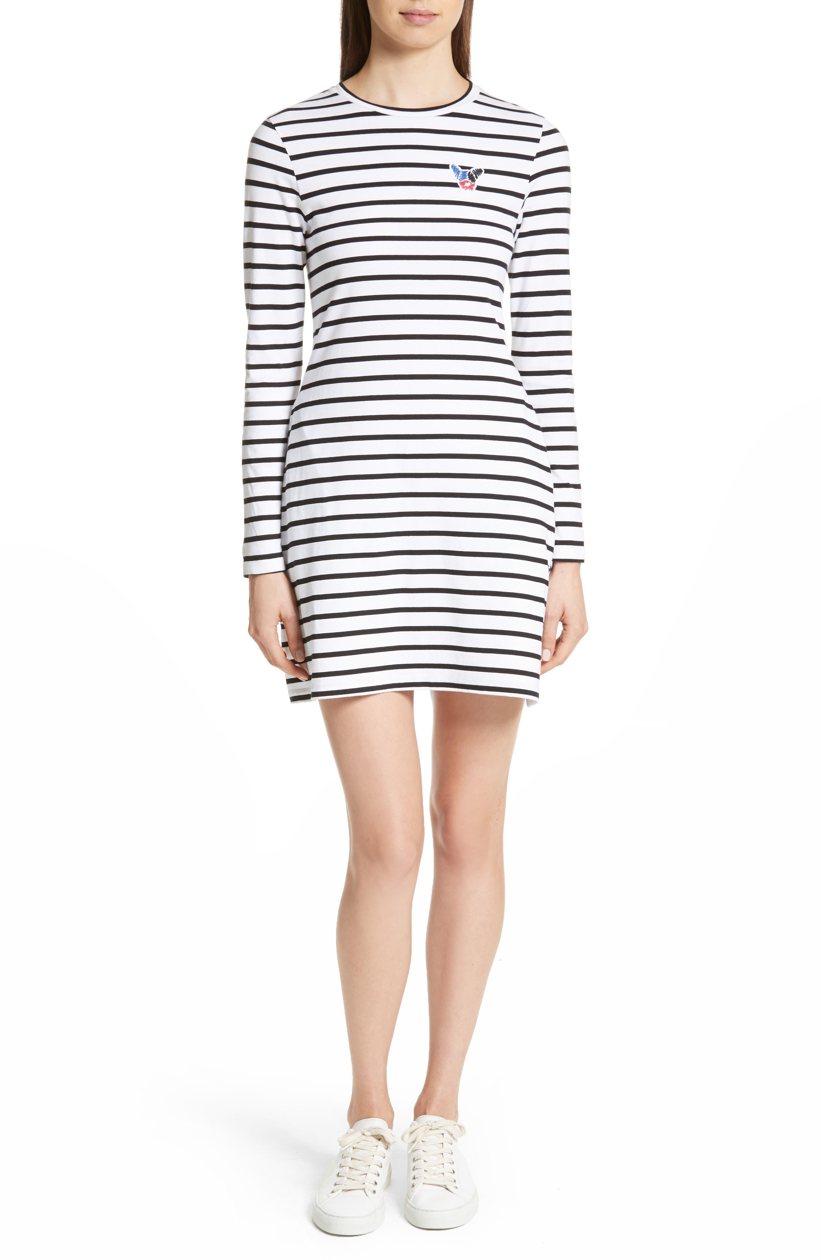 être cécile Scribble Dog Stripe T-Shirt Dress,                         Main,                         color, Black Breton Stripe