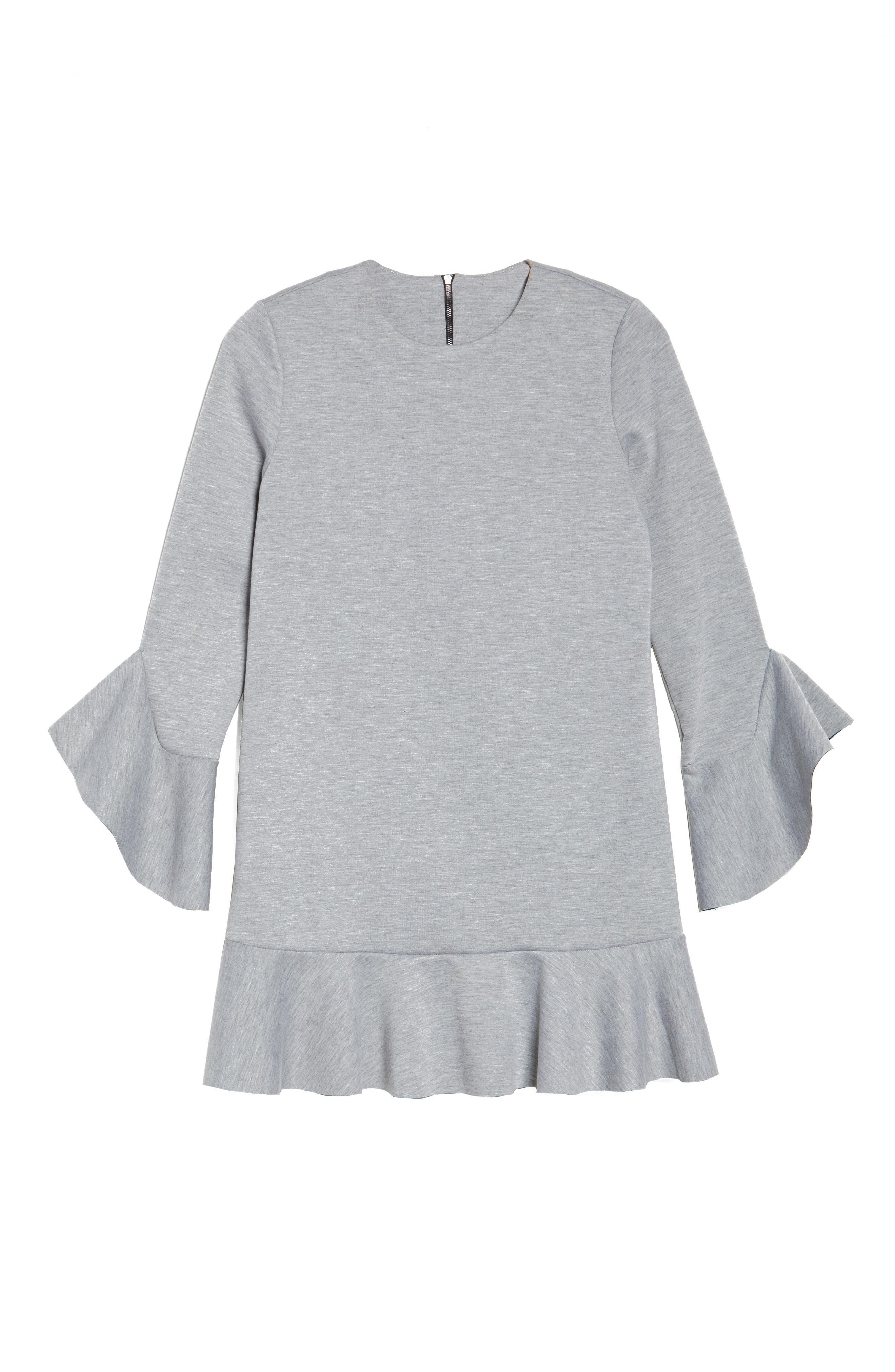 Ruffle Scuba Dress,                             Alternate thumbnail 7, color,                             Grey Heather