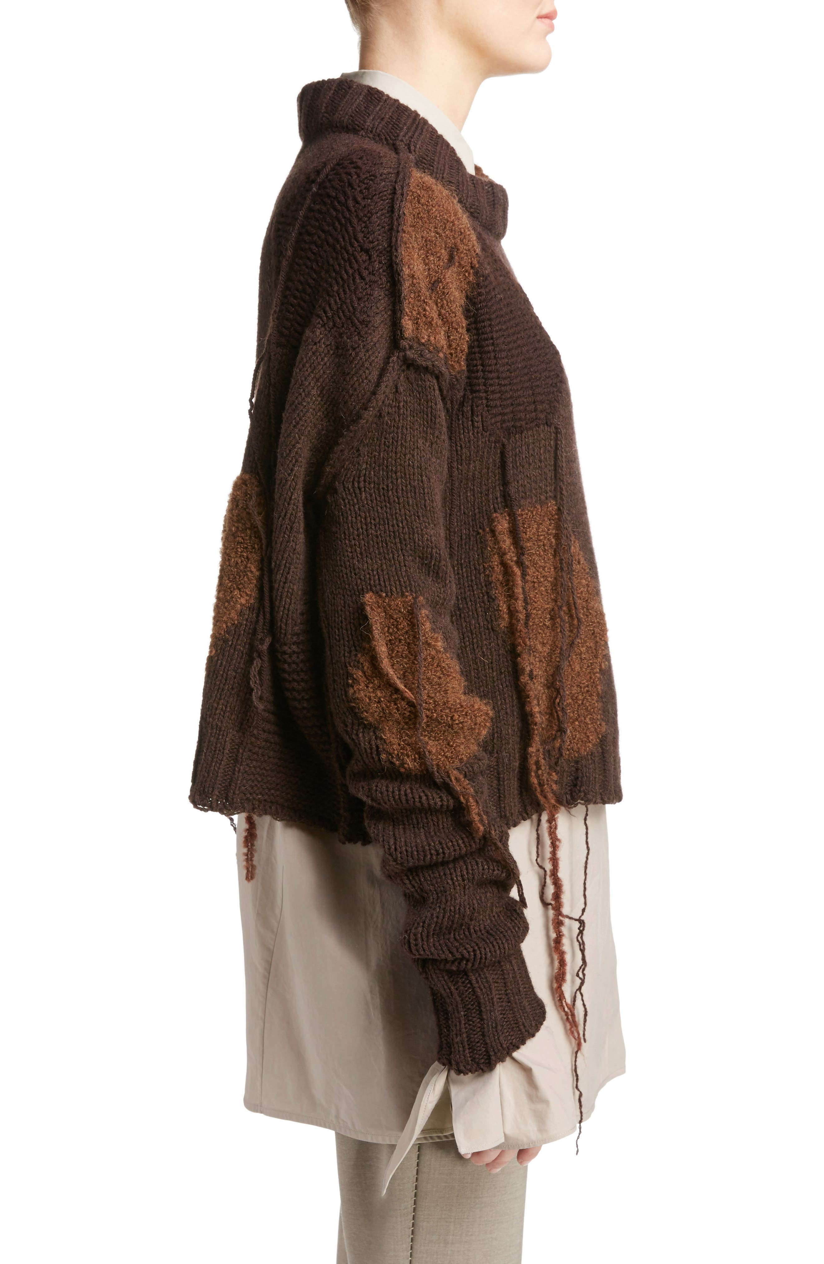 Ovira Distressed Patchwork Sweater,                             Alternate thumbnail 3, color,                             Brown Combo
