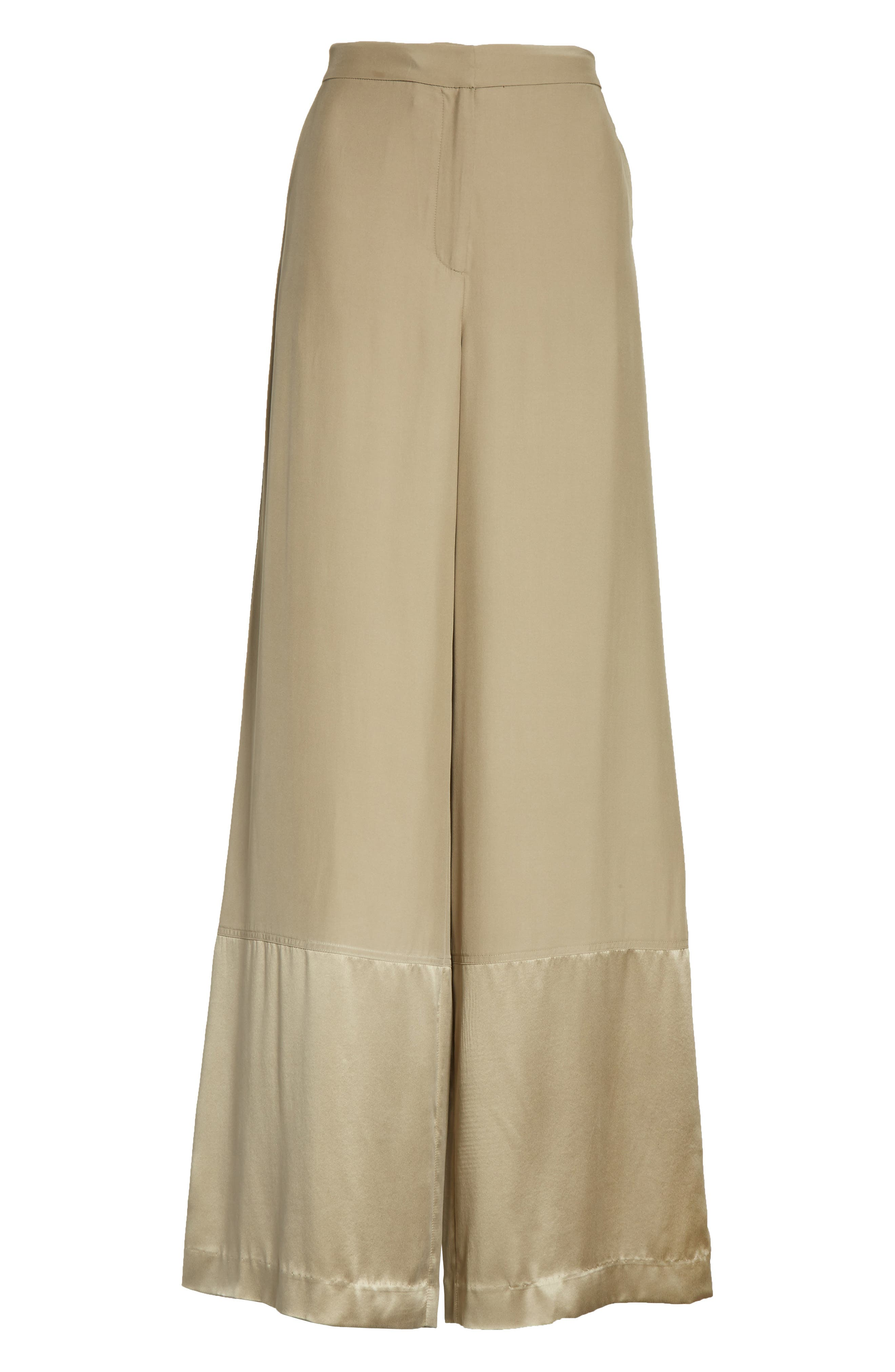 Satin Contrast Wide Leg Silk Pants,                             Alternate thumbnail 6, color,                             Light Army