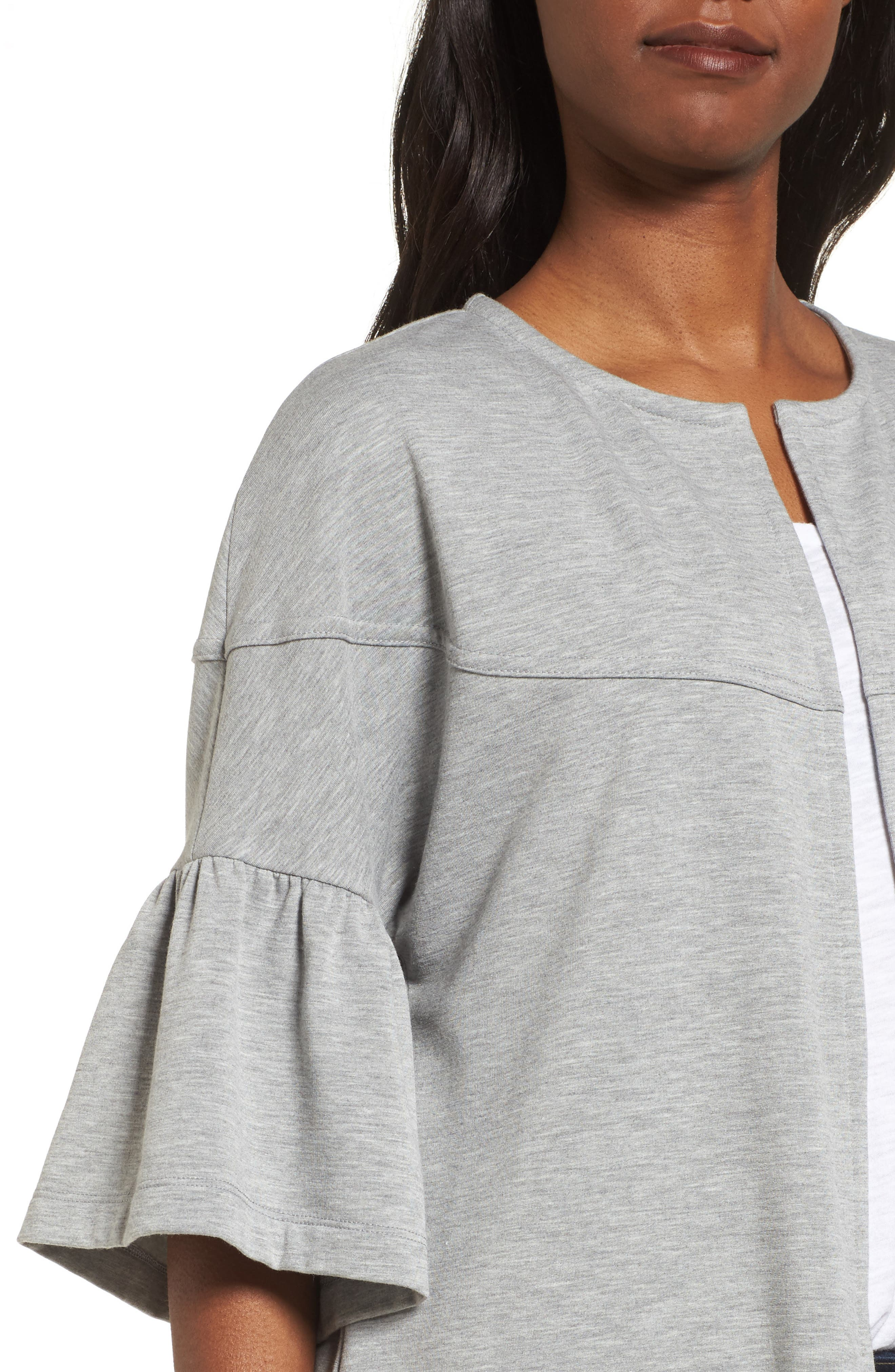 Bell Sleeve French Terry Jacket,                             Alternate thumbnail 4, color,                             Heather