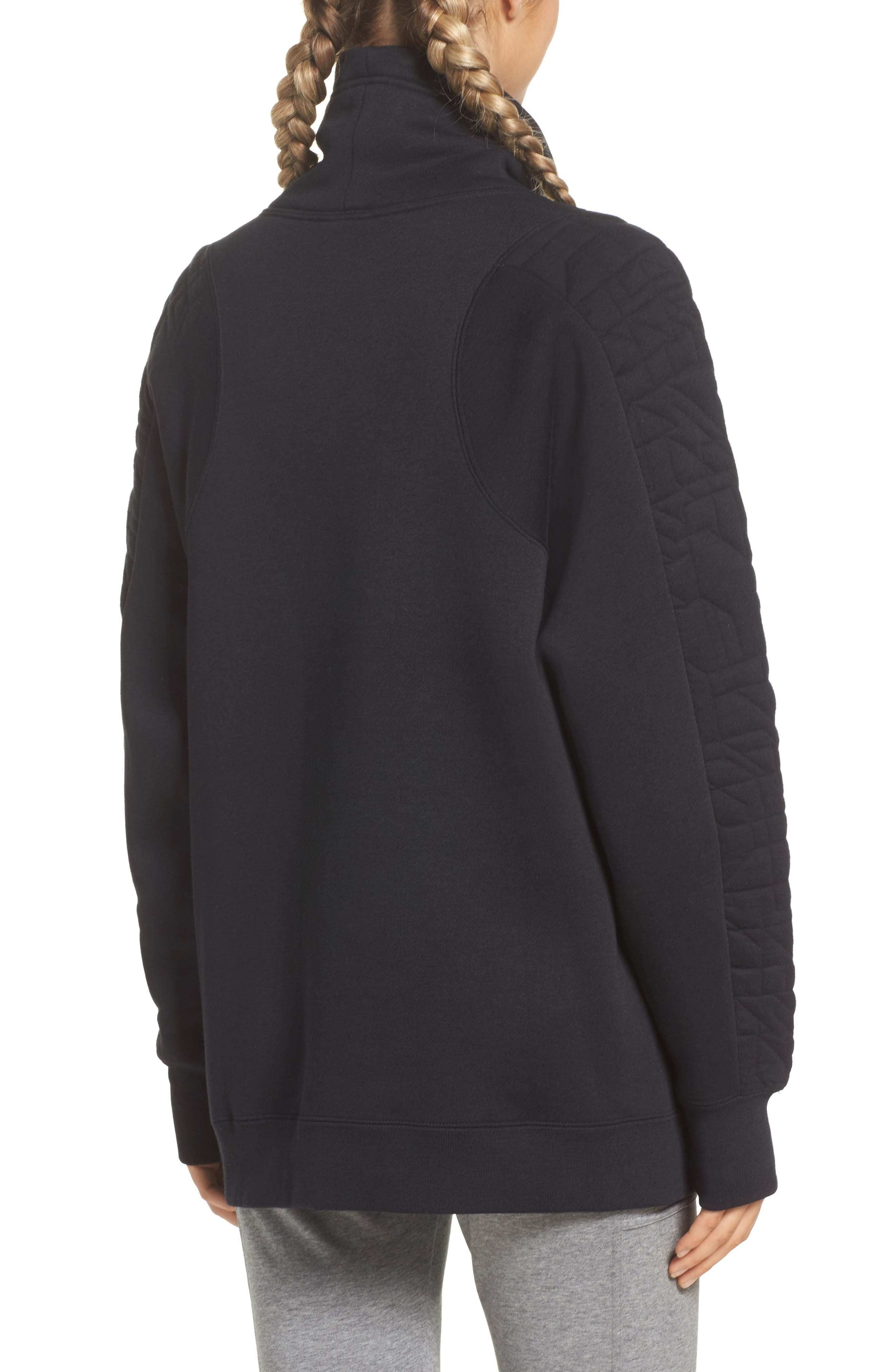 Sportswear Quilted Funnel Neck Pullover,                             Alternate thumbnail 2, color,                             Black/ Light Bone