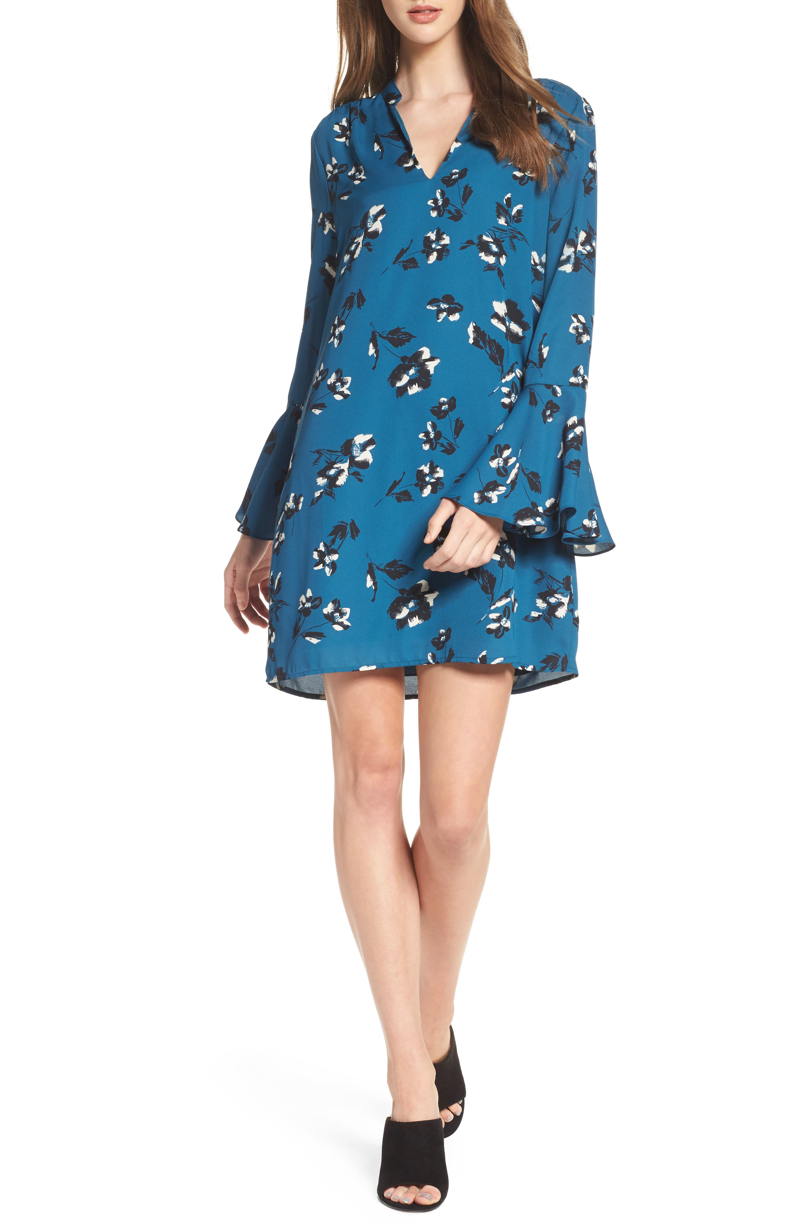 Bell Sleeve Shirtdress,                         Main,                         color, Teal Floral