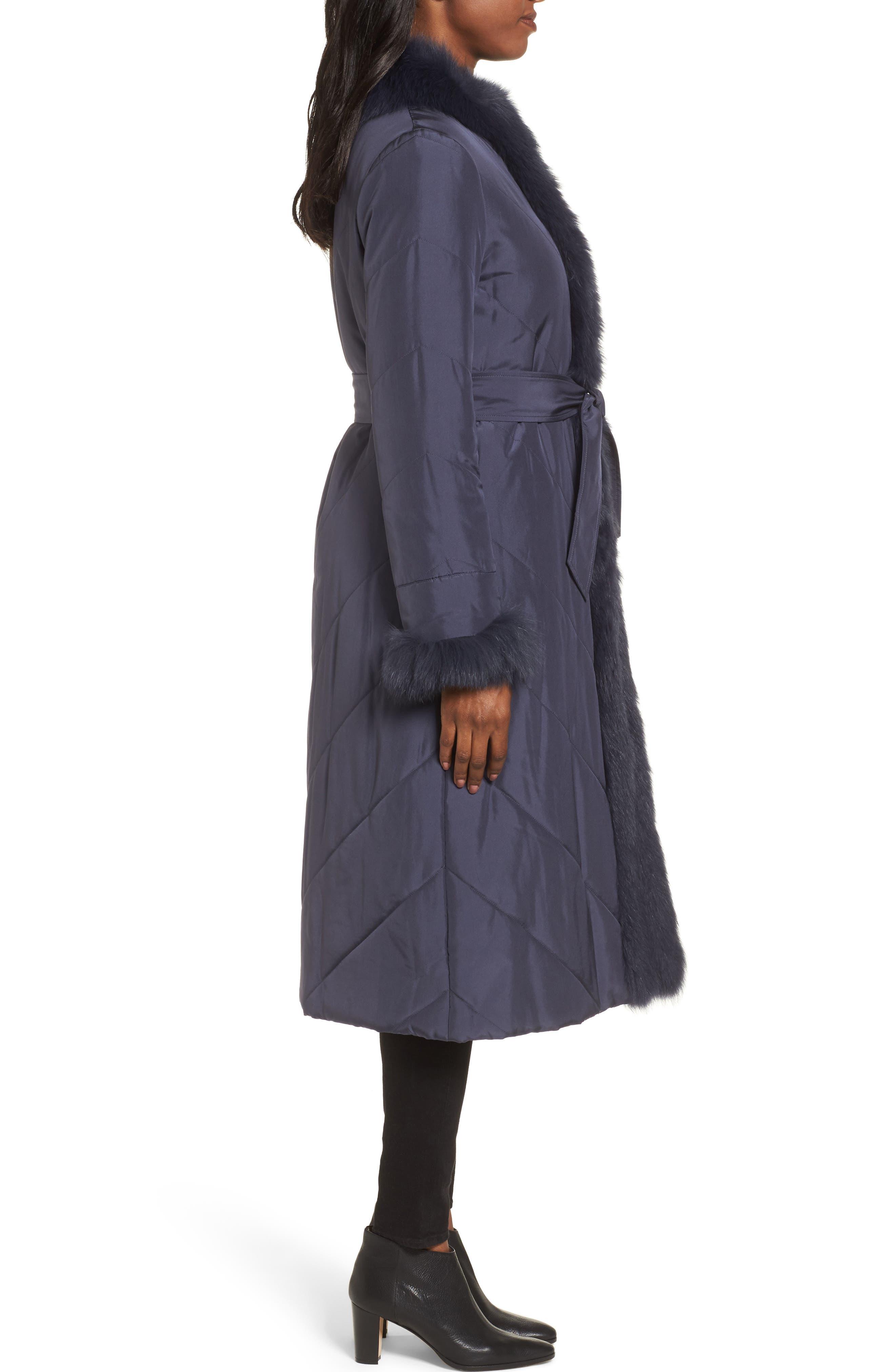 Alternate Image 3  - George Simonton Couture Packable Silk Coat with Genuine Fox Fur & Genuine Rabbit Fur