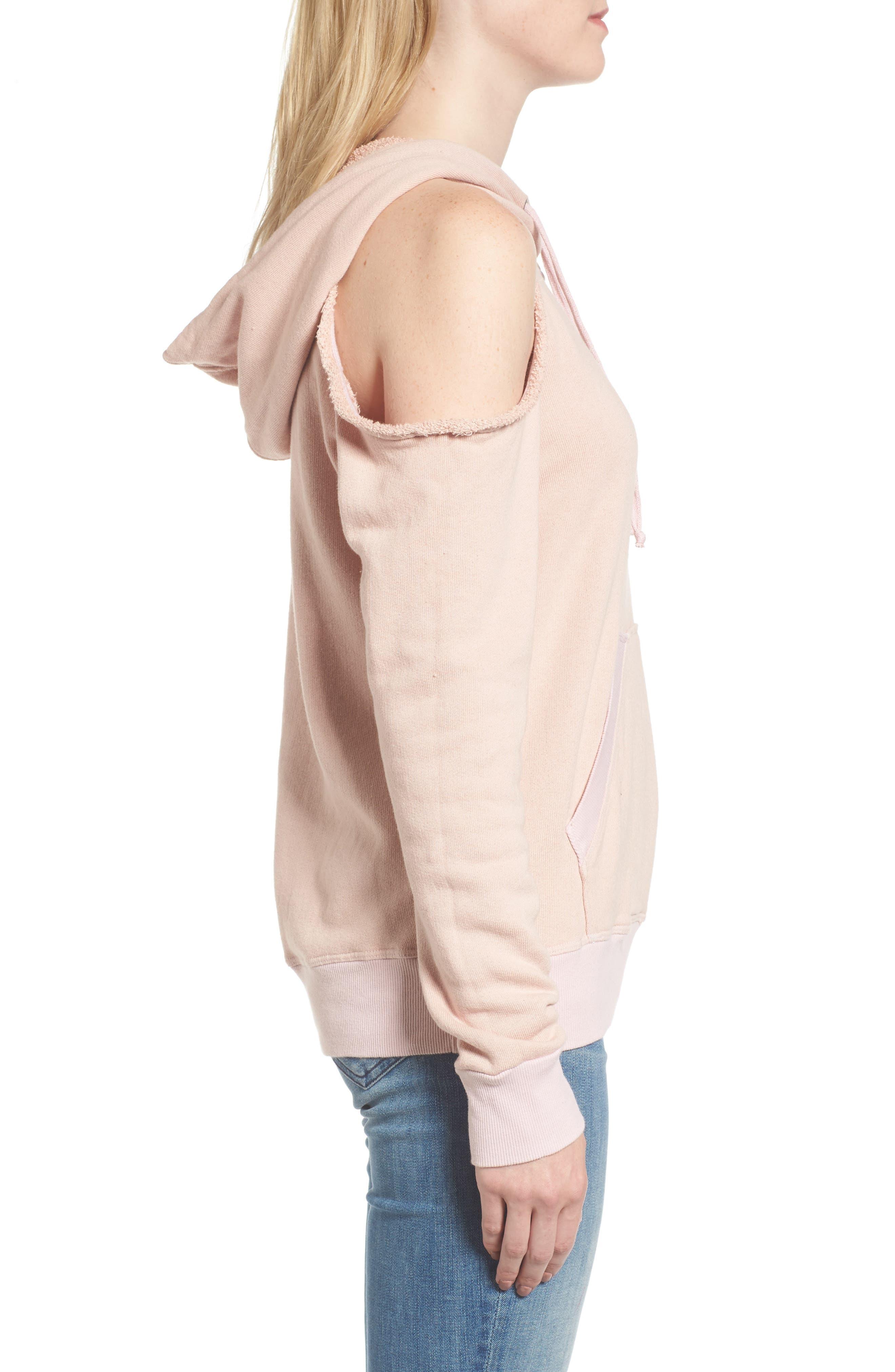 Cold Shoulder Hoodie,                             Alternate thumbnail 3, color,                             Pink Beige