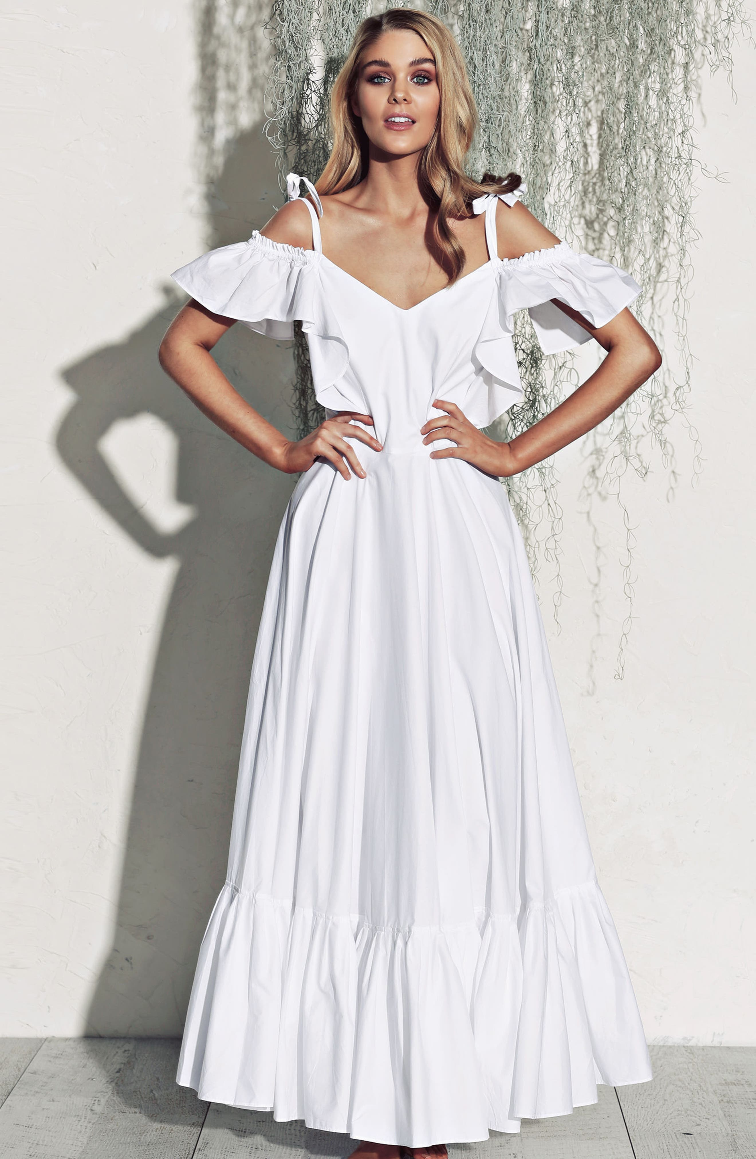 Lake Como Maxi Dress,                             Alternate thumbnail 7, color,                             White