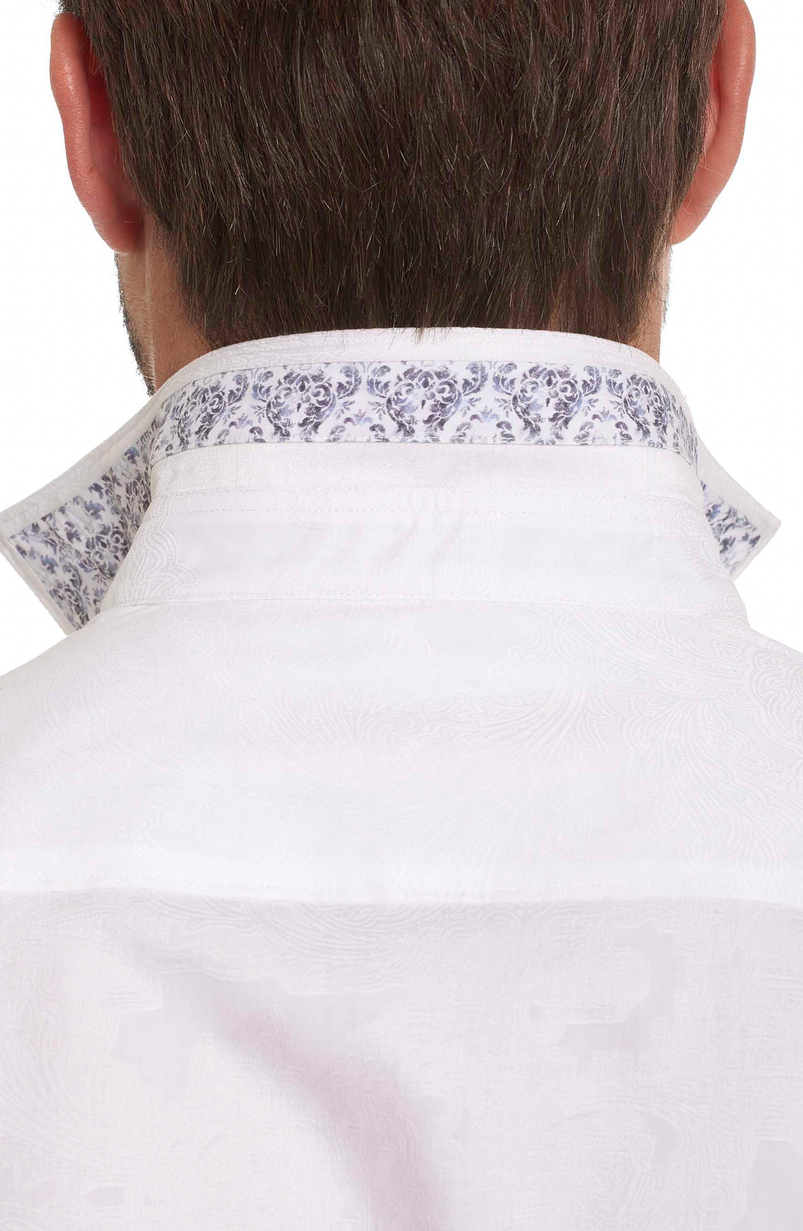 Rosendale Classic Fit Jacquard Sport Shirt,                             Alternate thumbnail 4, color,                             White