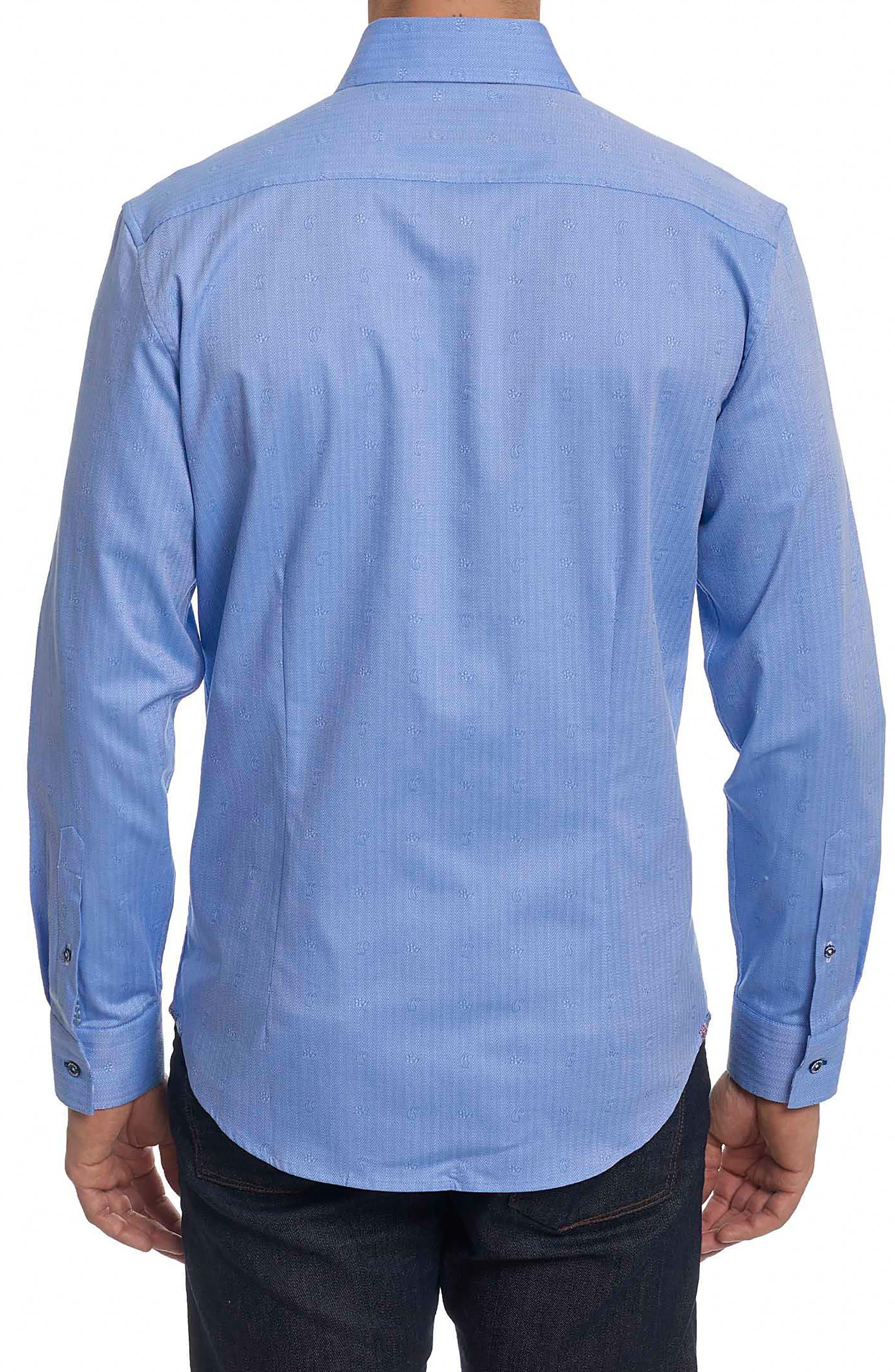 Taner Tailored Fit Dobby Herringbone Sport Shirt,                             Alternate thumbnail 2, color,                             Blue