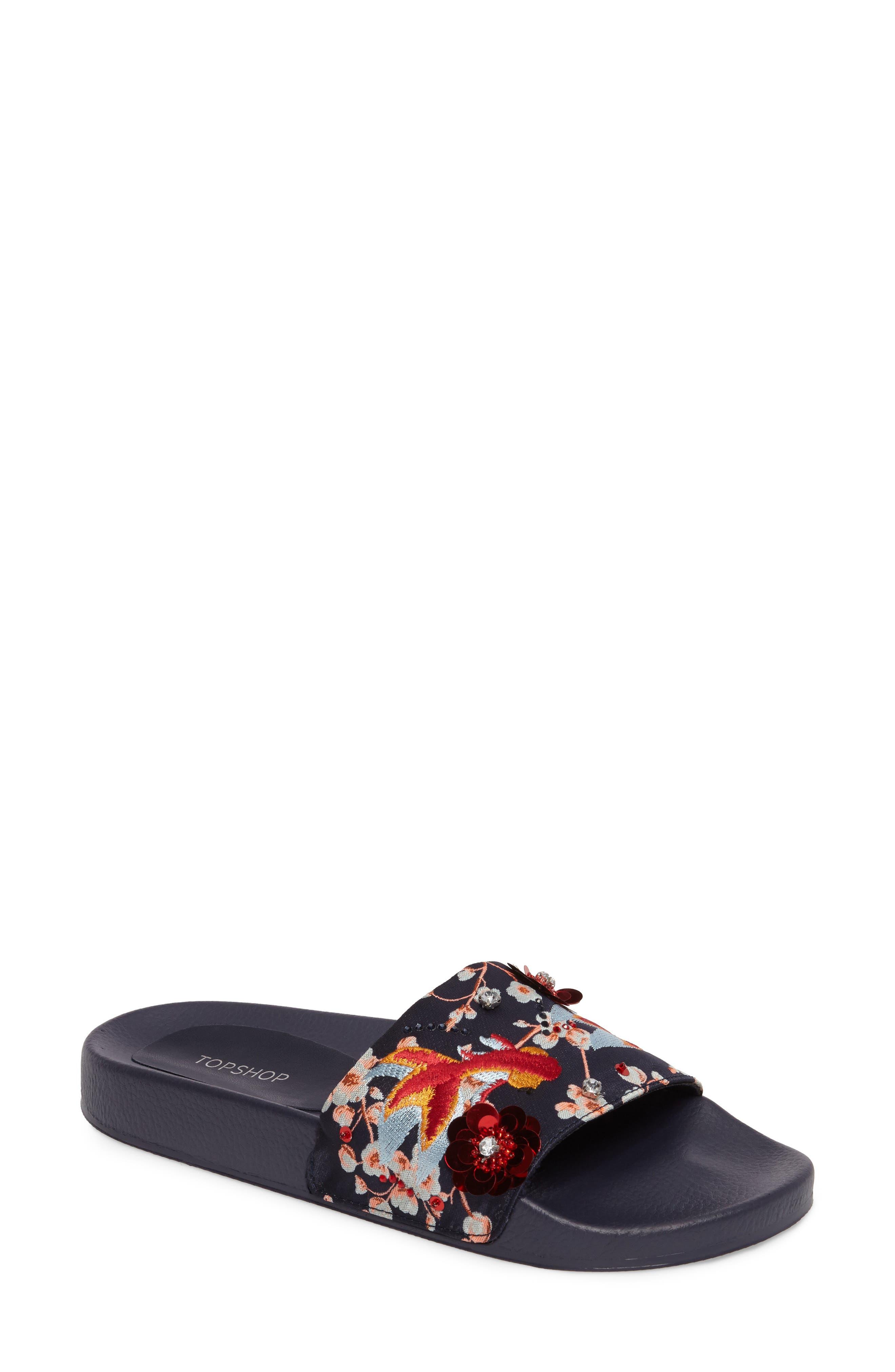 TOPSHOP HERRING Goldfish Embellished Slide Sandal