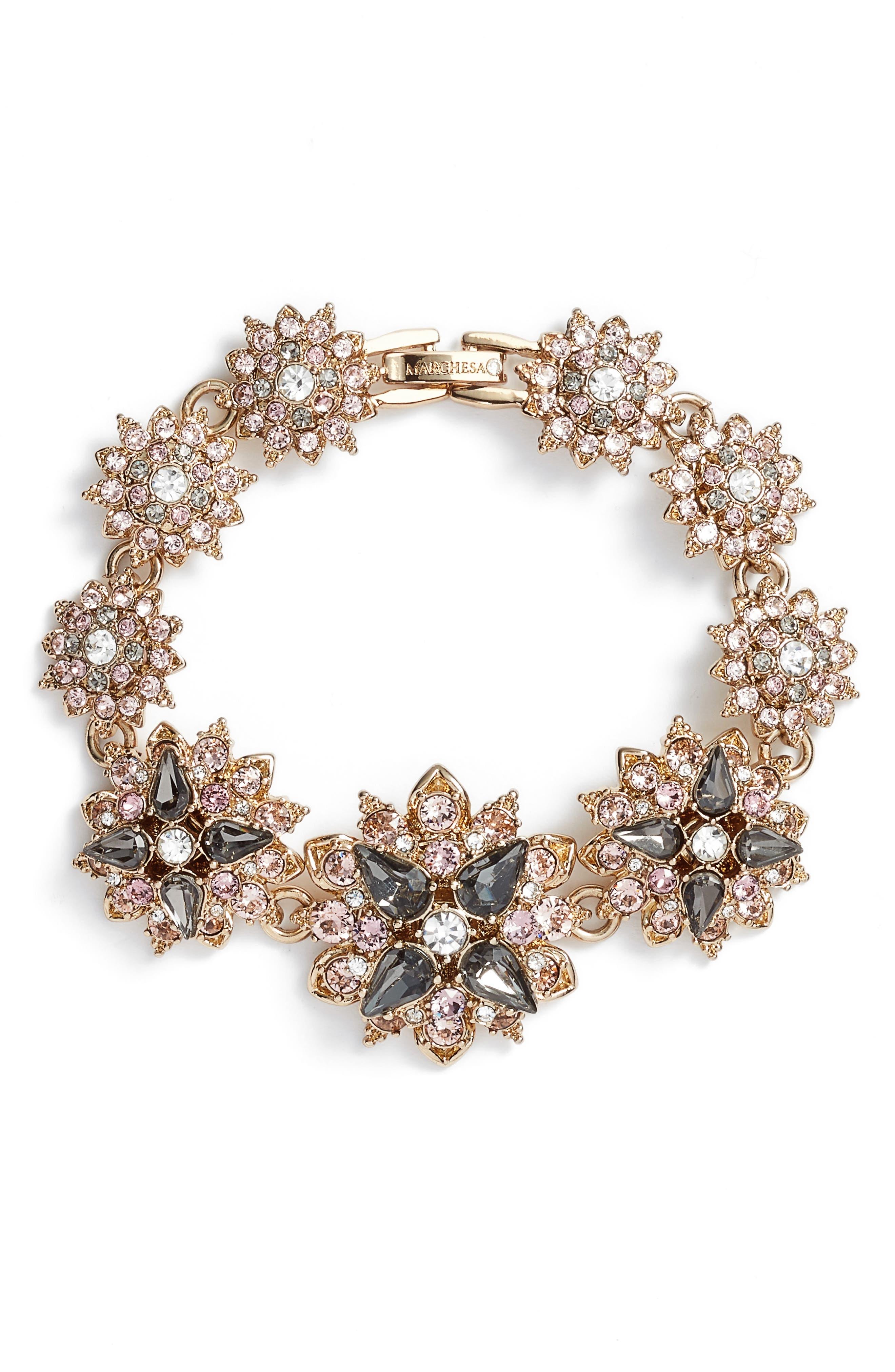 Crystal Bracelet,                         Main,                         color, Gold/ Grey Multi