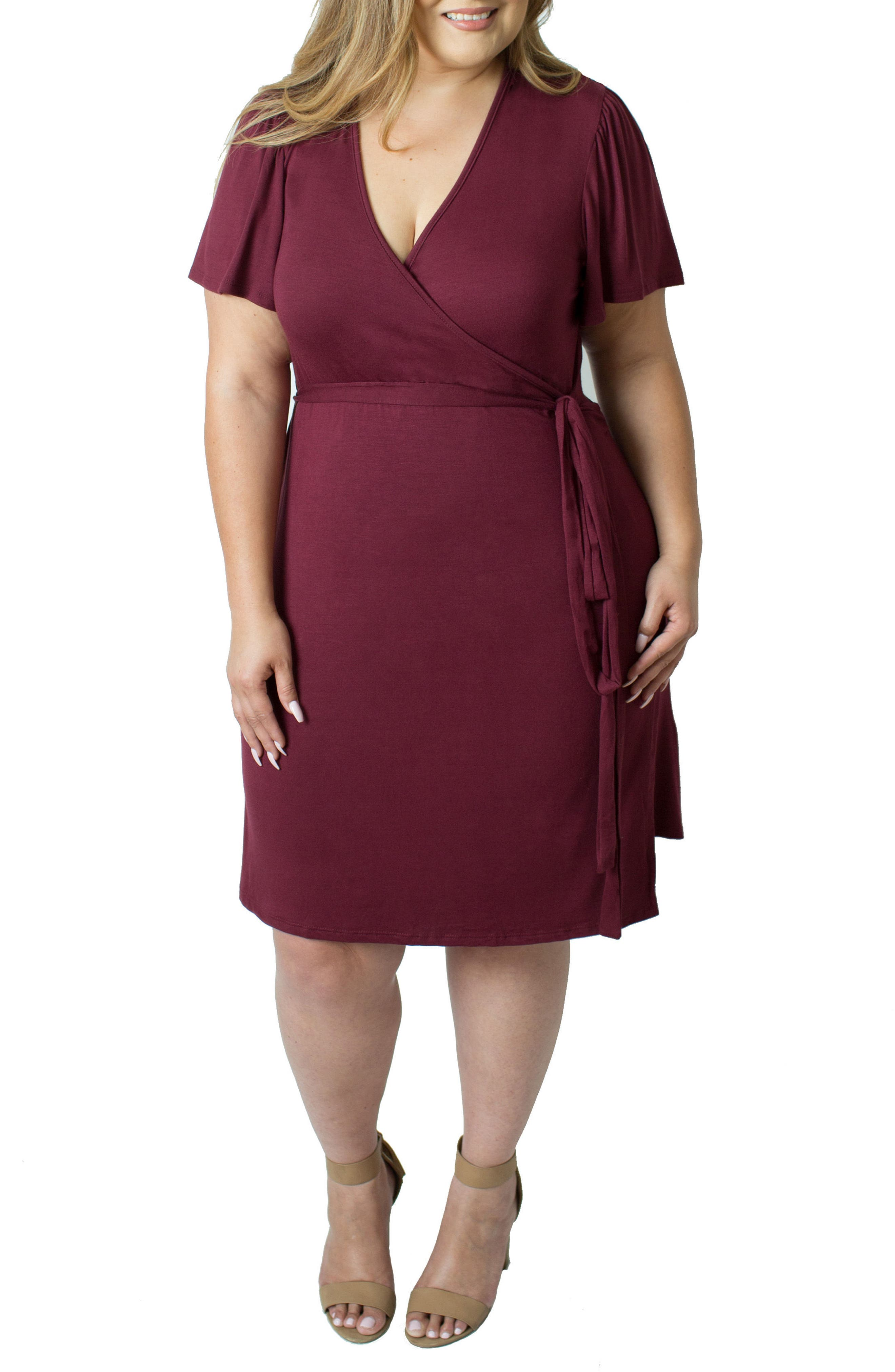 Main Image - Udderly Hot Mama Wrap Nursing Dress (Plus Size)