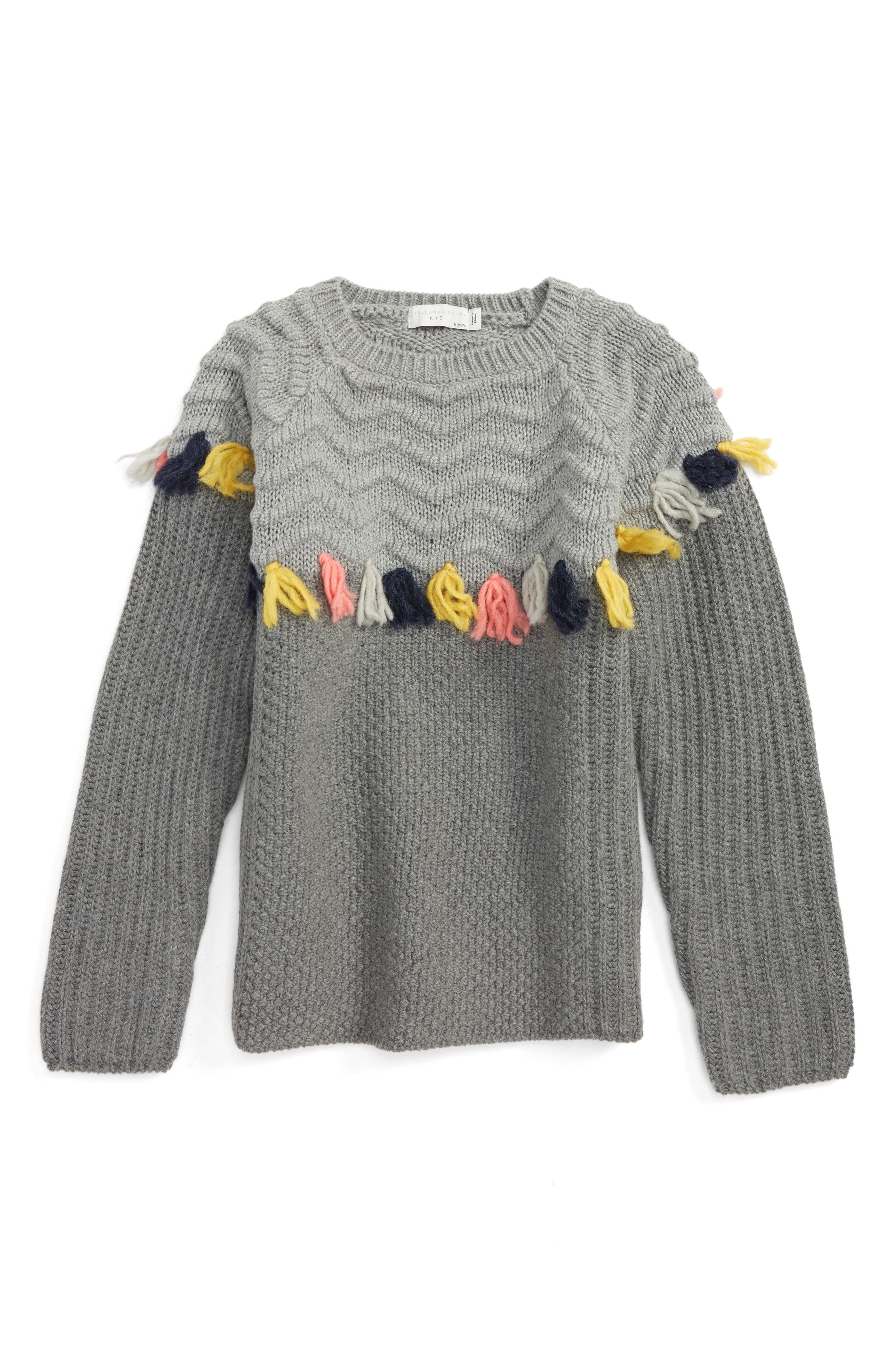 Stella McCartney Kids Tangerine Knit Tassel Sweater (Little Girls & Big Girls)