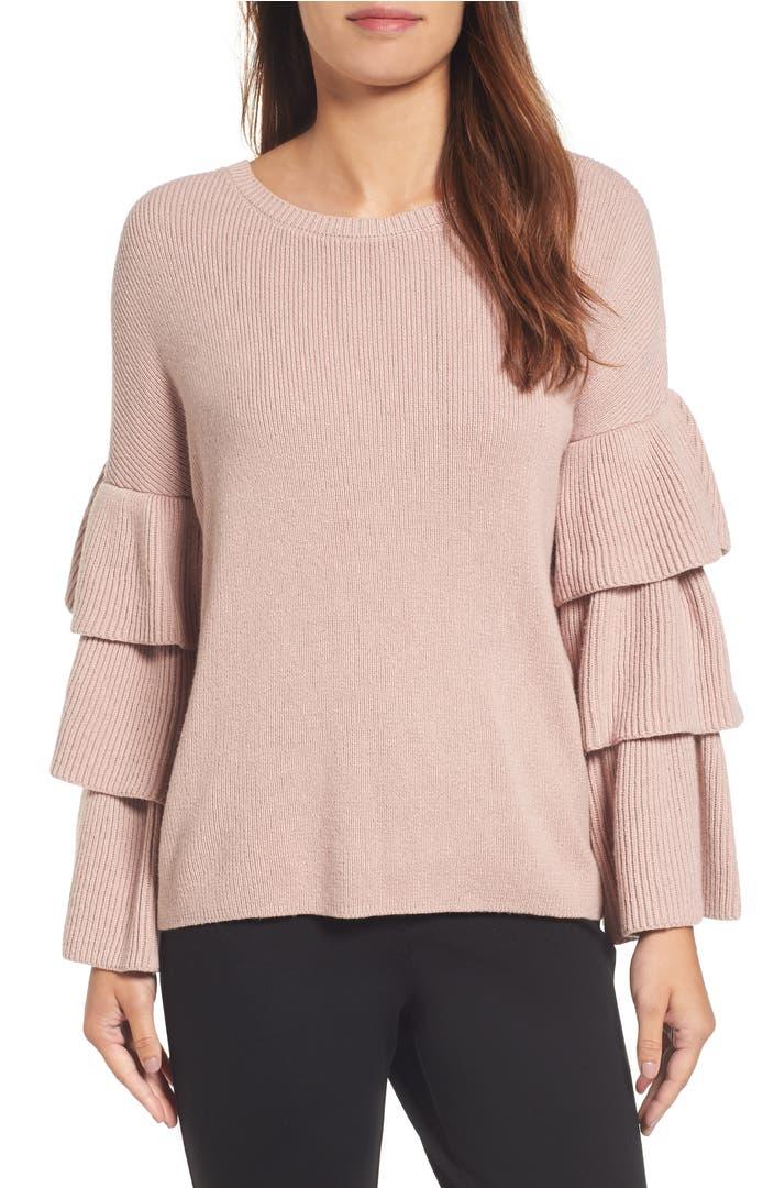 Main Image - Halogen® Ruffle Sleeve Sweater (Regular & Petite)