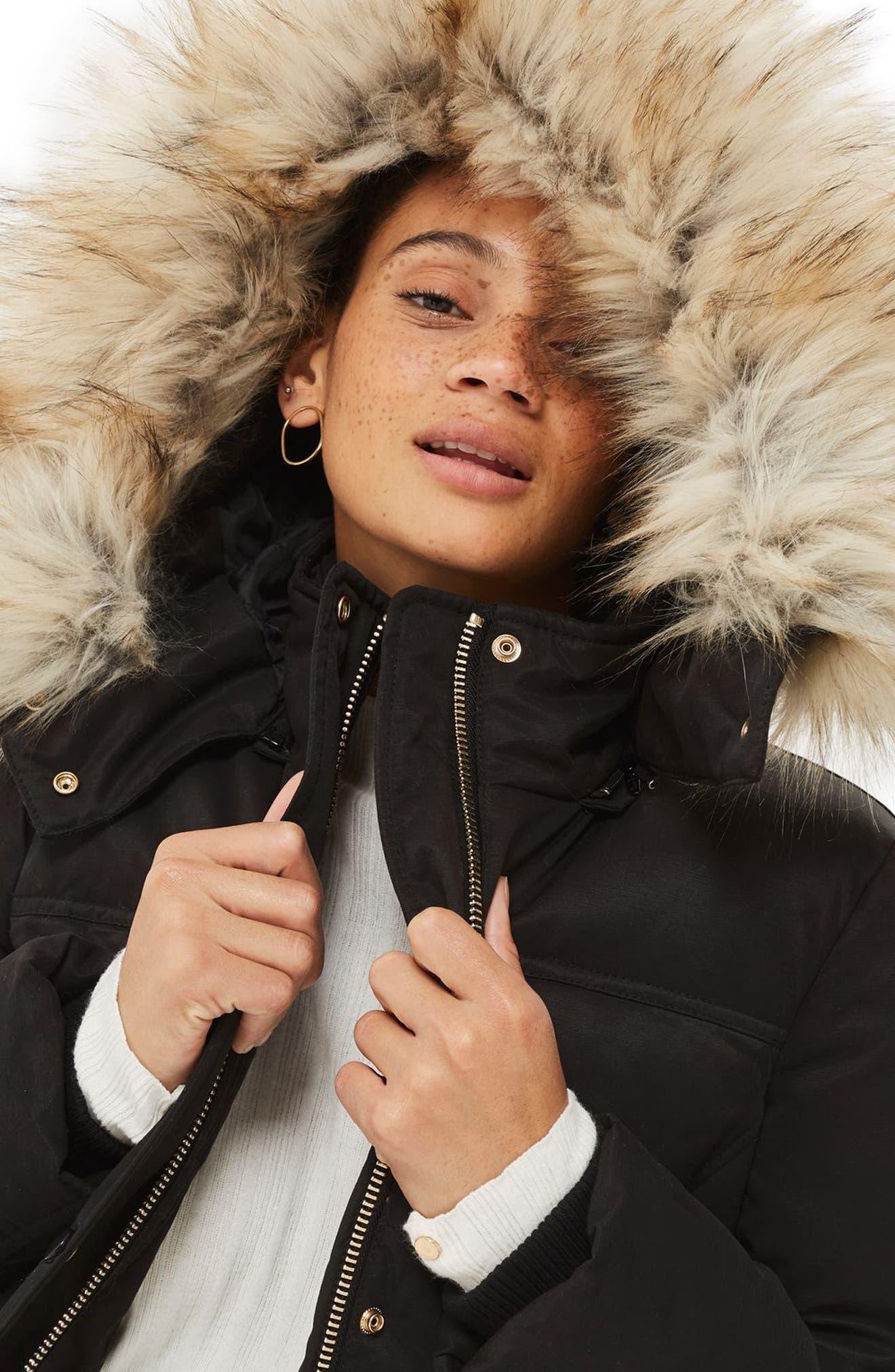 Alternate Image 2  - Topshop Jerry Faux Fur Trim Puffer Jacket