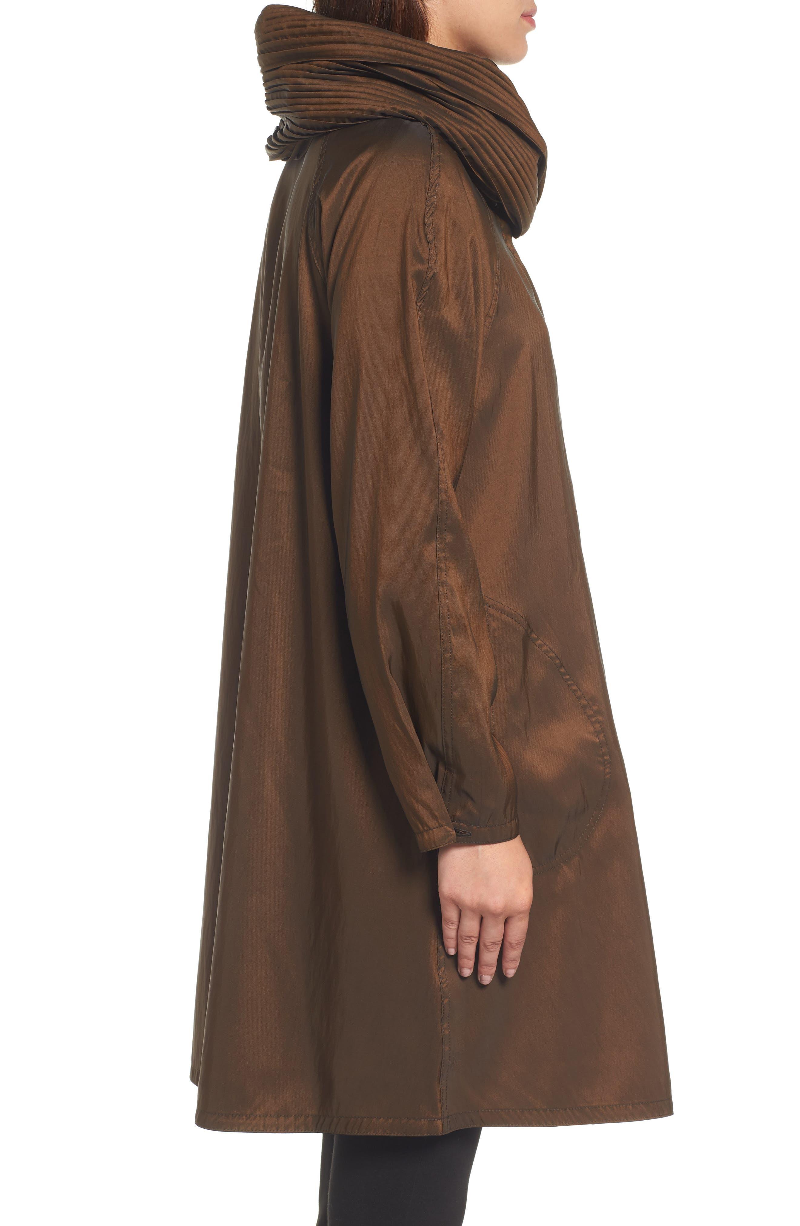 Reversible Pleat Hood Packable Travel Coat,                             Alternate thumbnail 3, color,                             Bronze/ Black