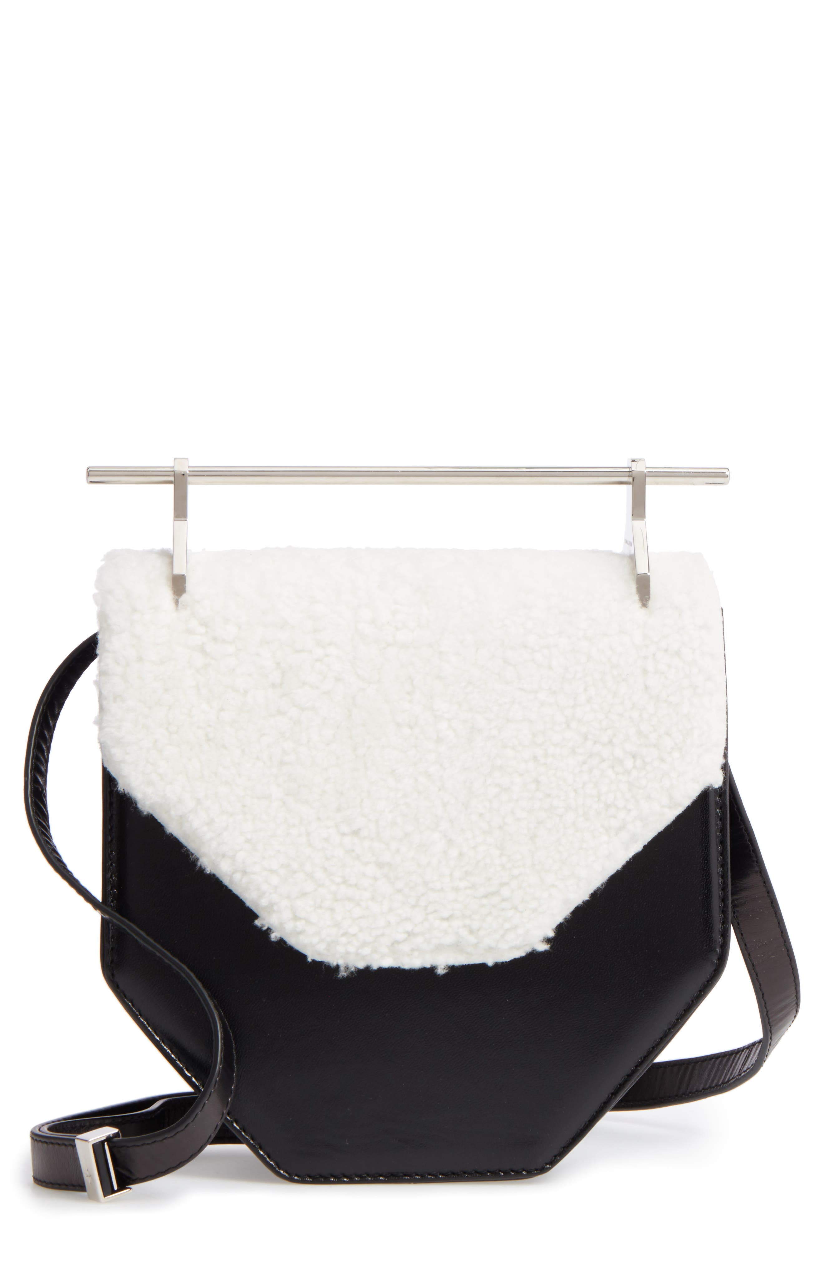 Amor Fati Leather & Genuine Shearling Shoulder Bag,                             Main thumbnail 1, color,                             Black/ White/ Silver