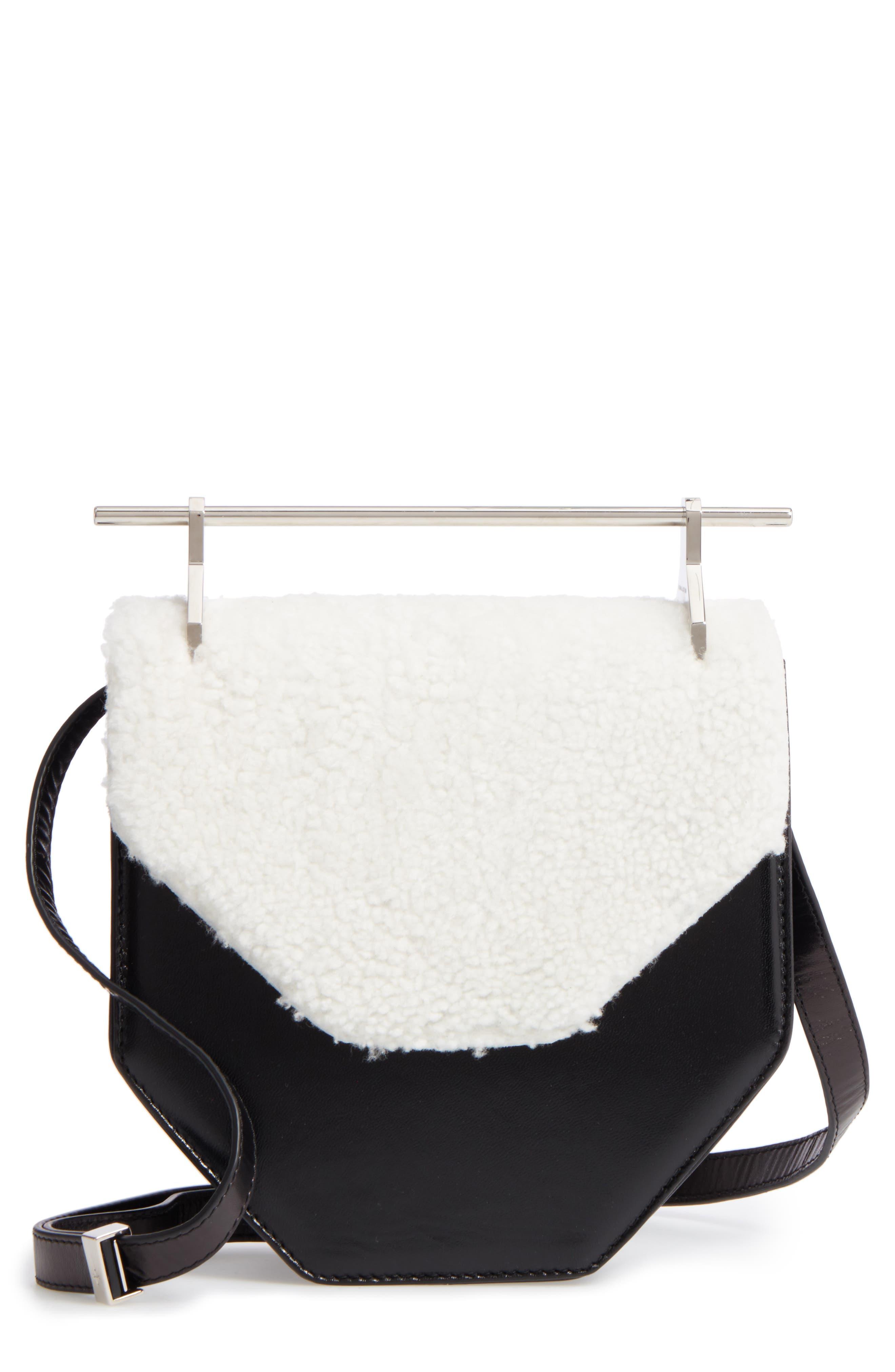 M2Malletier Amor Fati Leather & Genuine Shearling Shoulder Bag