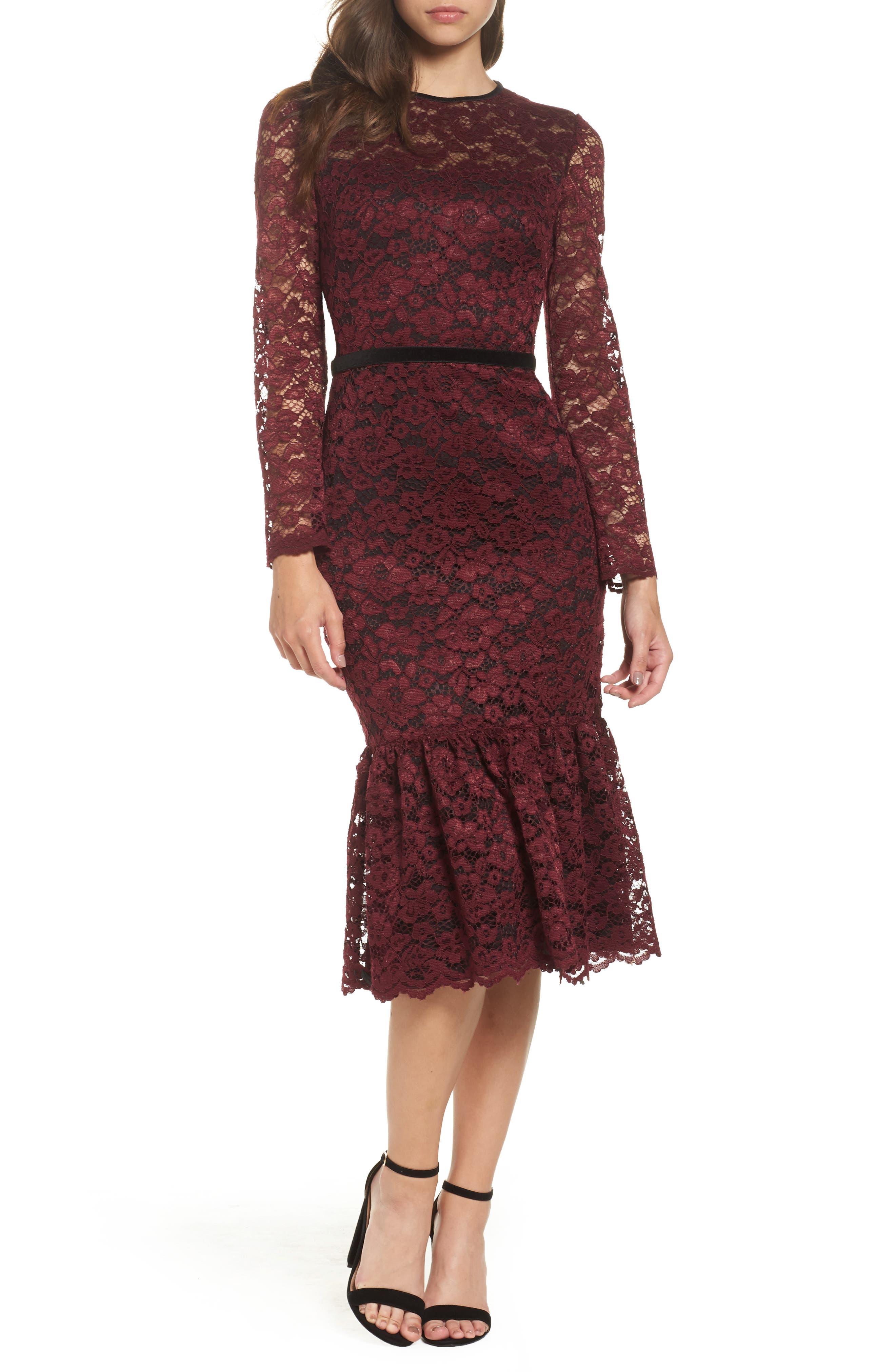Lace Midi Dress,                             Main thumbnail 1, color,                             Plum Wine
