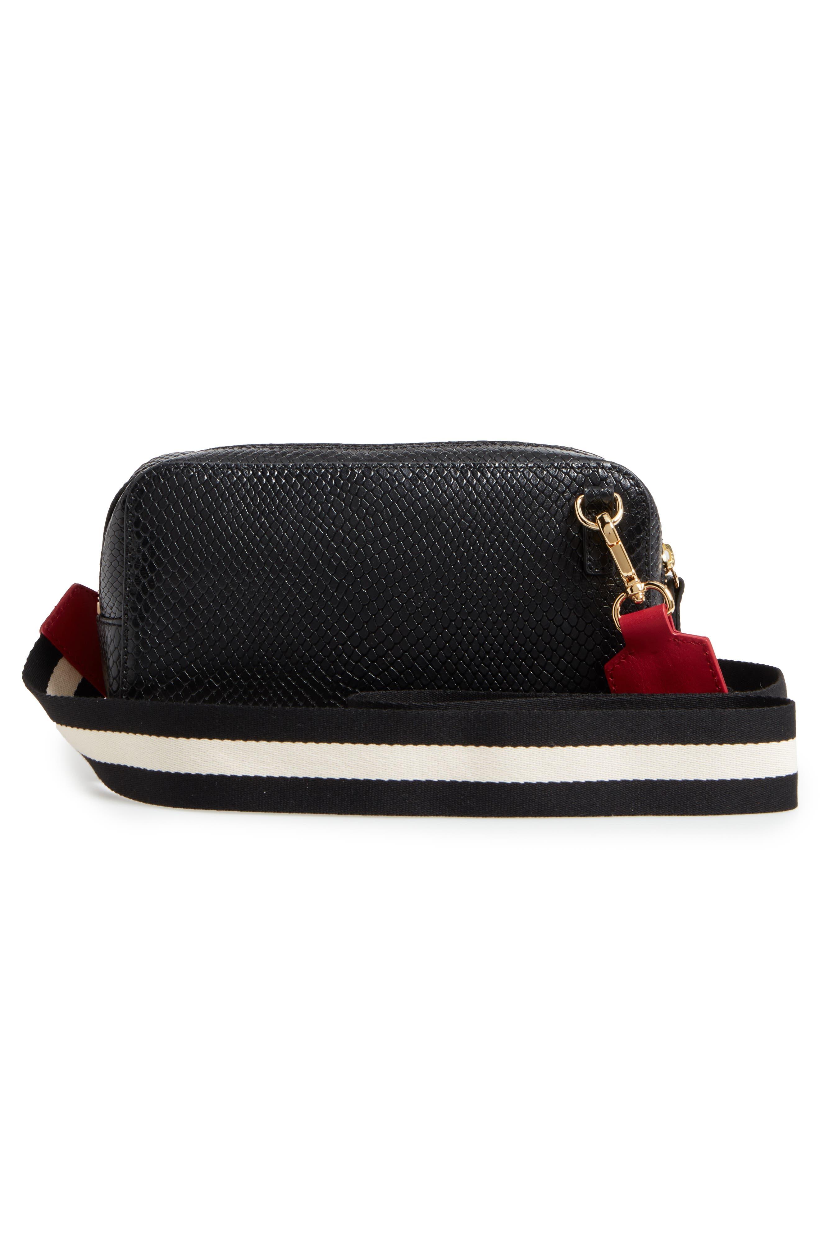 Snakeskin Embossed Leather Crossbody Bag,                             Alternate thumbnail 2, color,                             Black