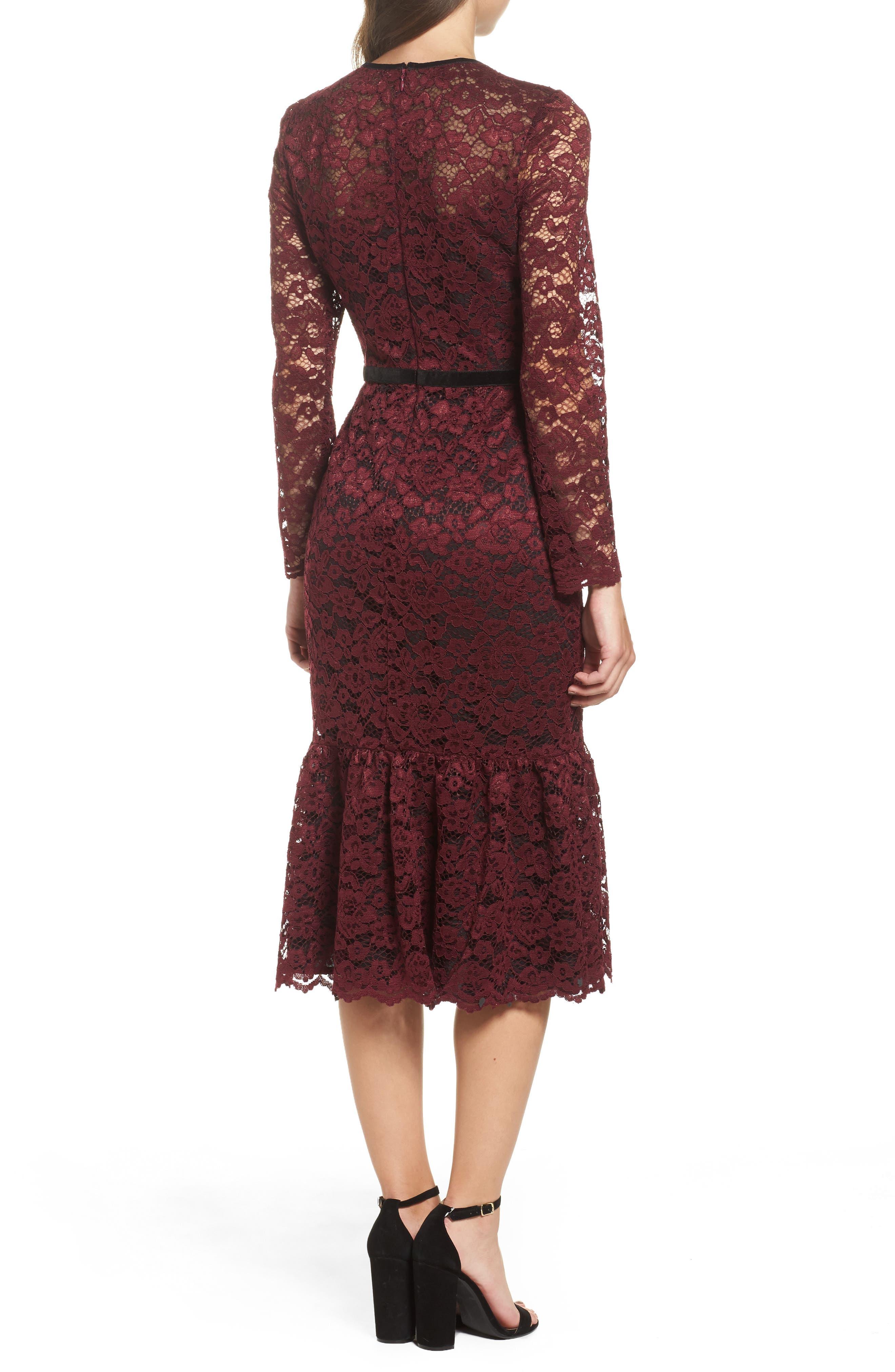 Lace Midi Dress,                             Alternate thumbnail 3, color,                             Plum Wine