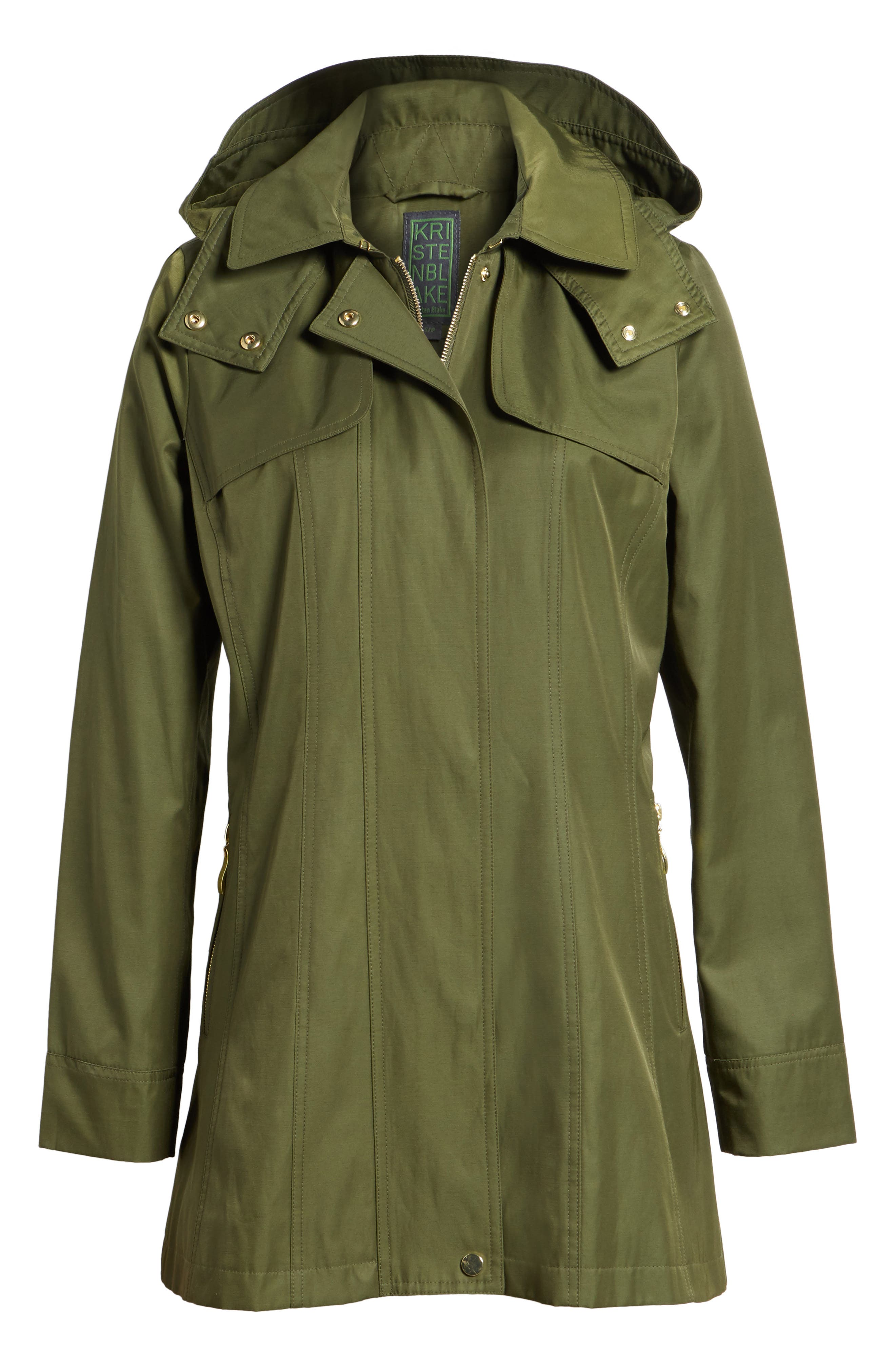 Fit & Flare Anorak Jacket,                             Alternate thumbnail 6, color,                             Olive