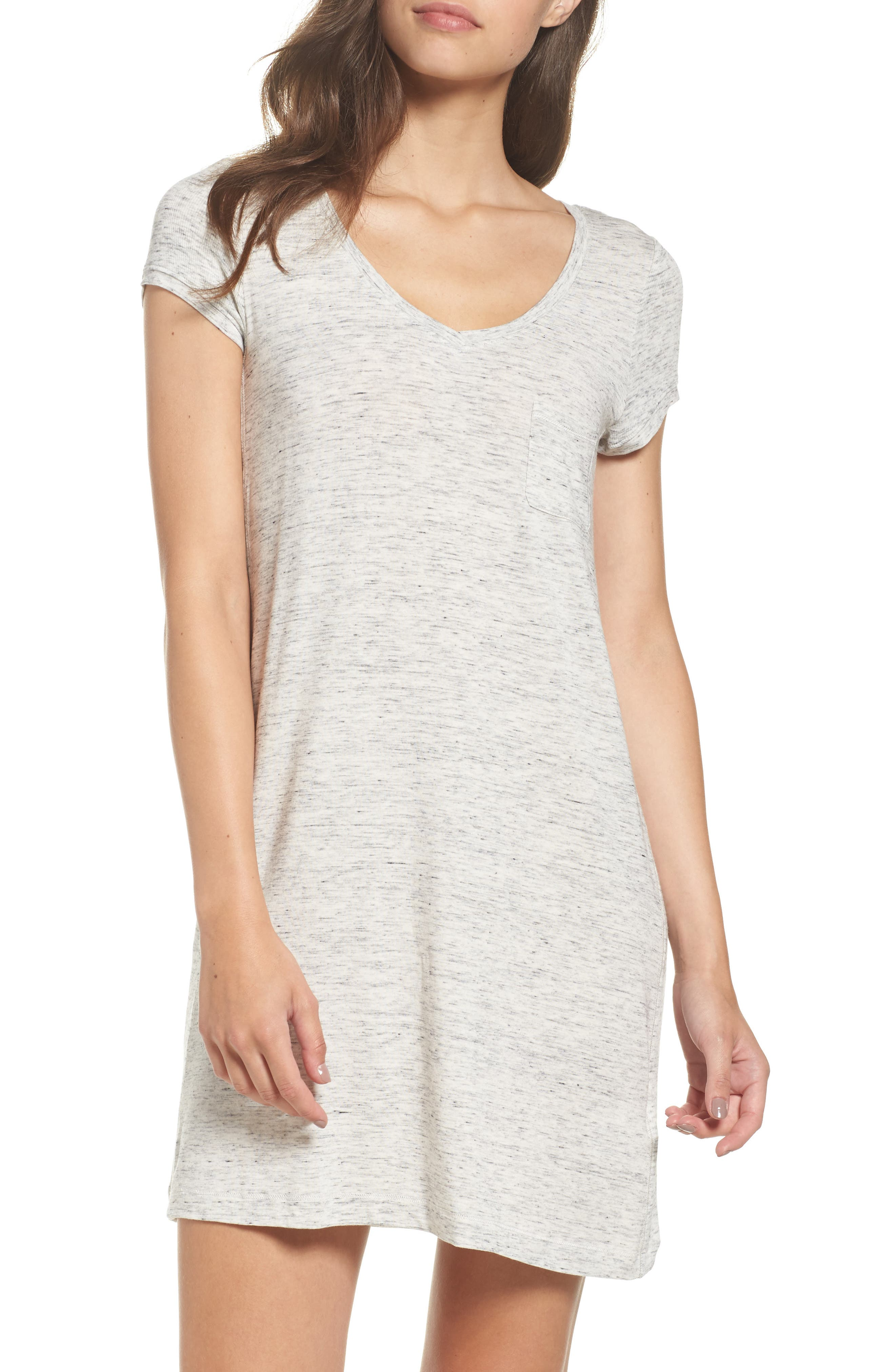 'City Essentials' V-Neck Sleep Shirt,                         Main,                         color, Light Gray Heather