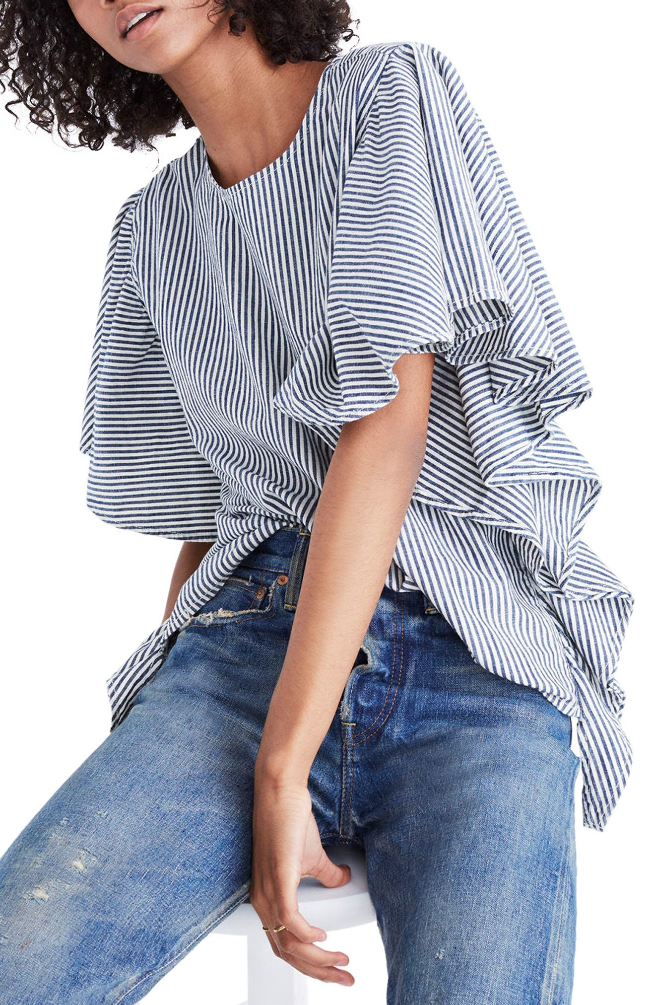 Stripe Butterfly Sleeve Top,                             Alternate thumbnail 4, color,                             Chambray Stripe