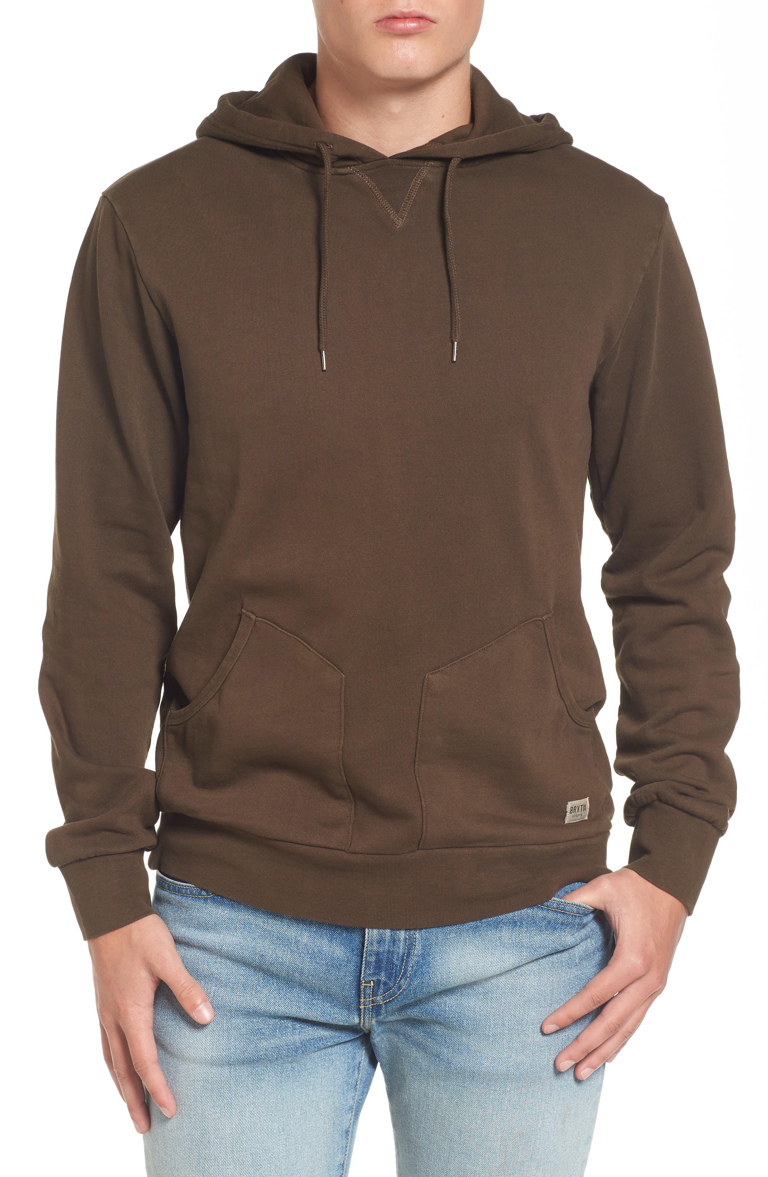 Hooded Fleece Sweatshirt,                         Main,                         color, Washed Brown